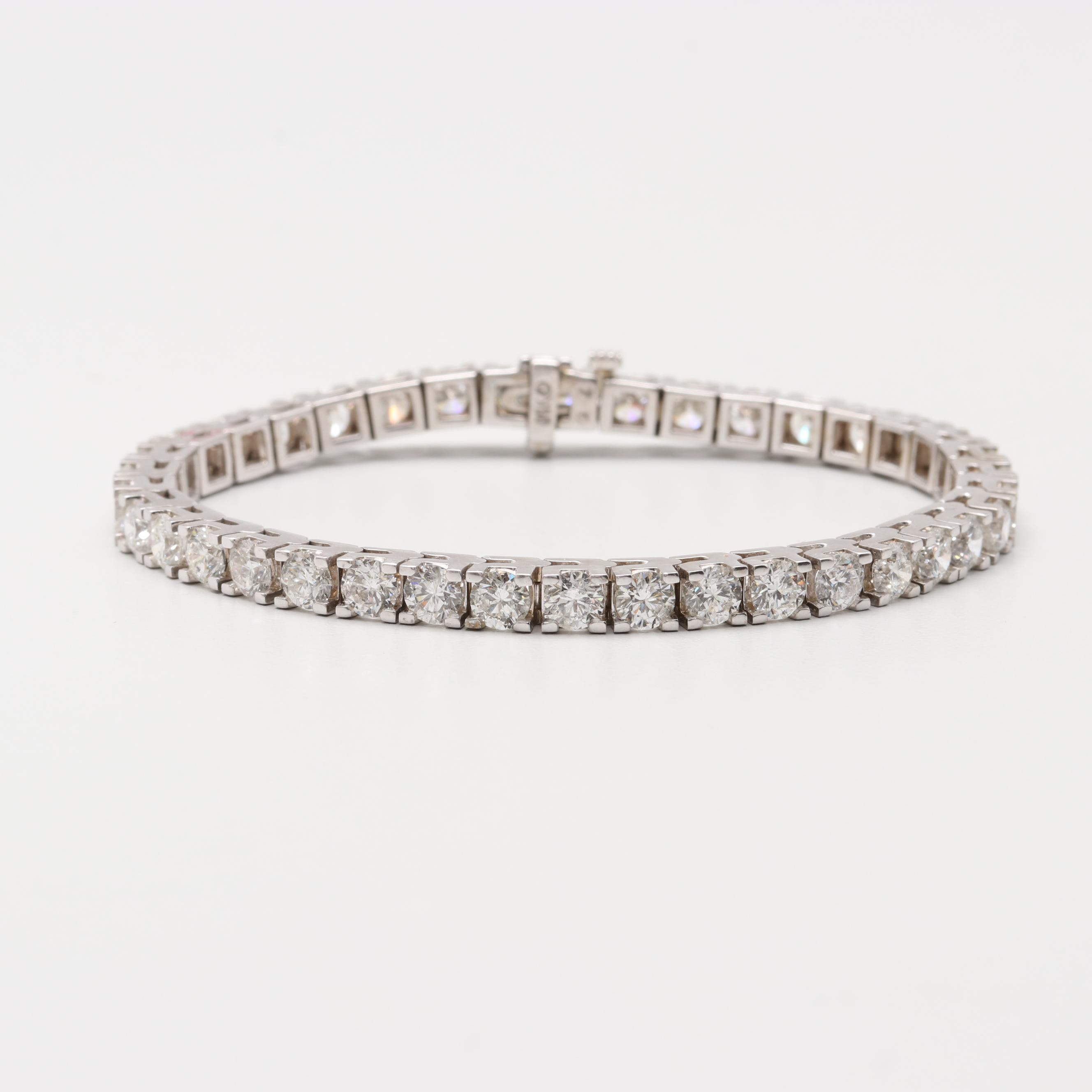 14K White Gold 10.94 CTW Diamond Tennis Bracelet