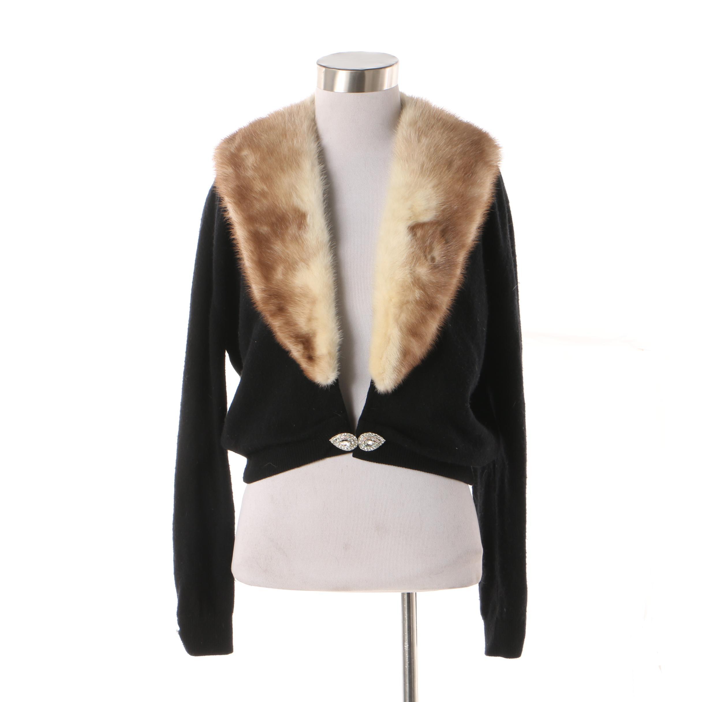 Women's Vintage Bernhard Altmann Mink Fur and Black Cashmere Sweater