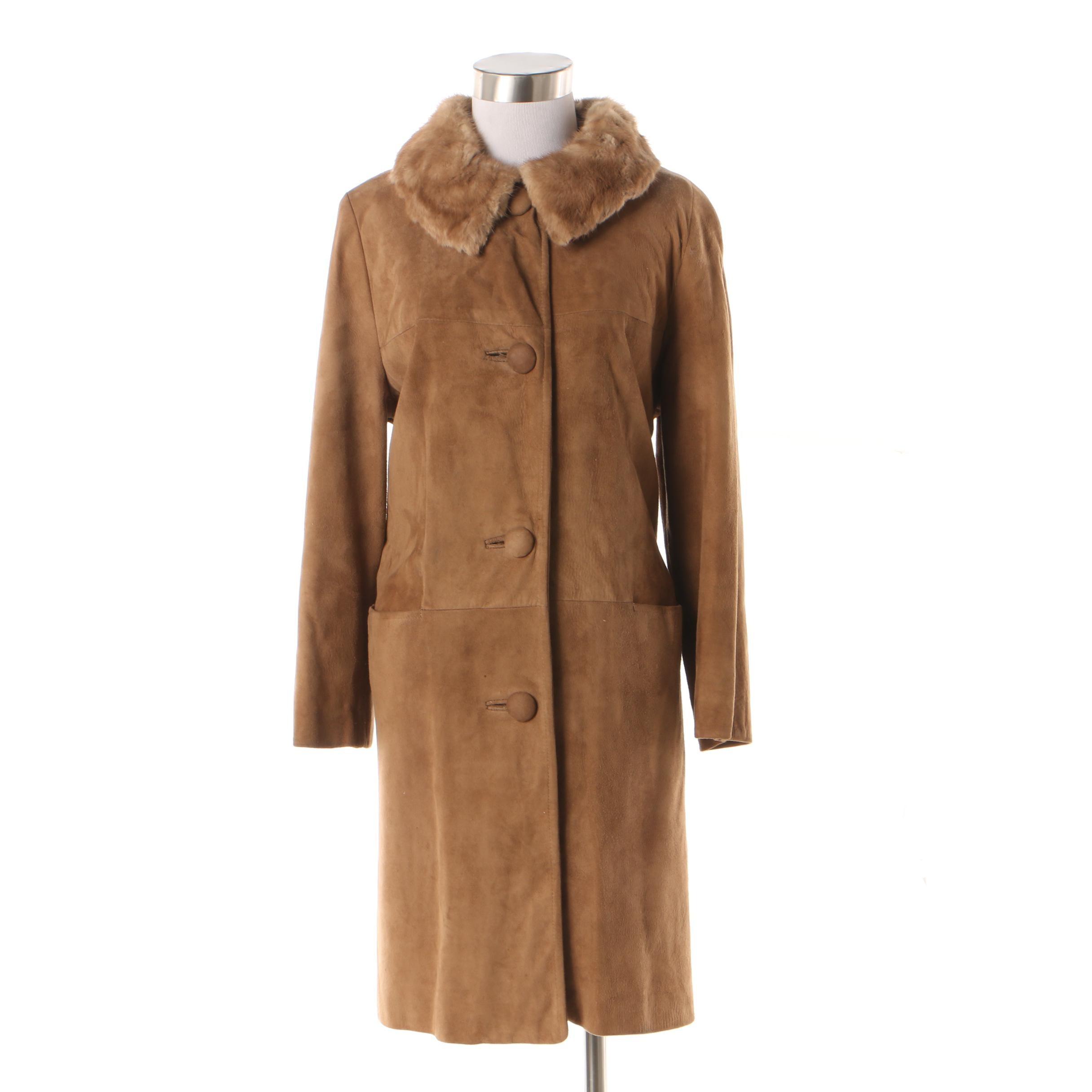 Women's Light Brown Suede Coat with Mink Fur Collar