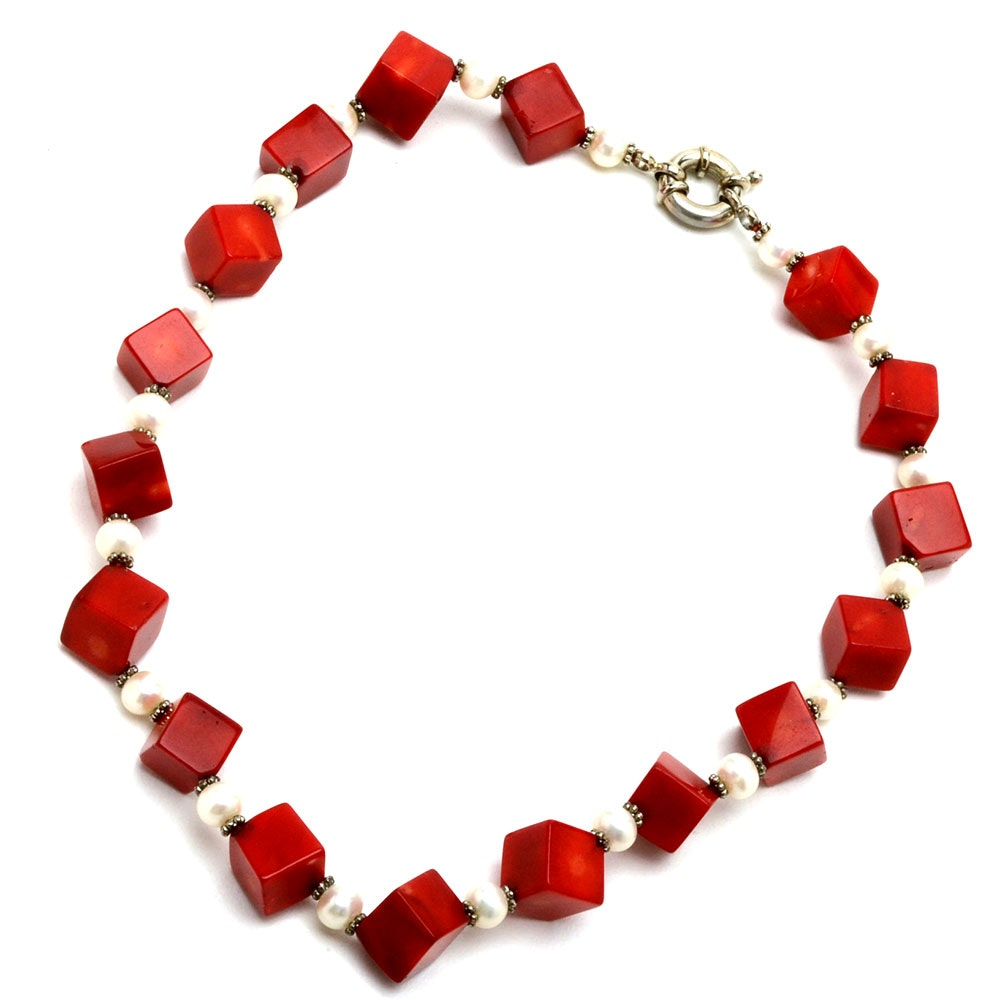 800 Silver Coral and Cultured Freshwater Pearl Necklace