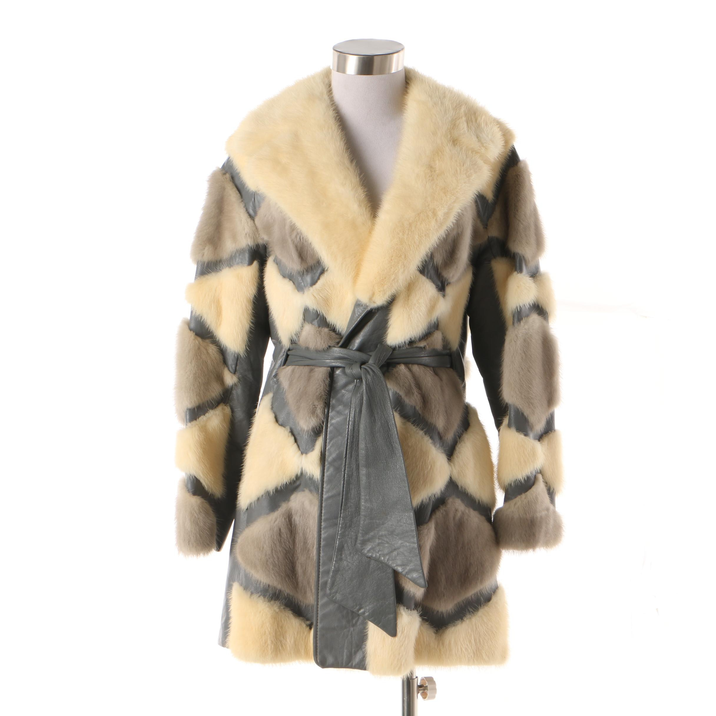 Vintage Cohen's Furs Grey and Blonde Pieced Mink Fur and Leather Wrap Jacket