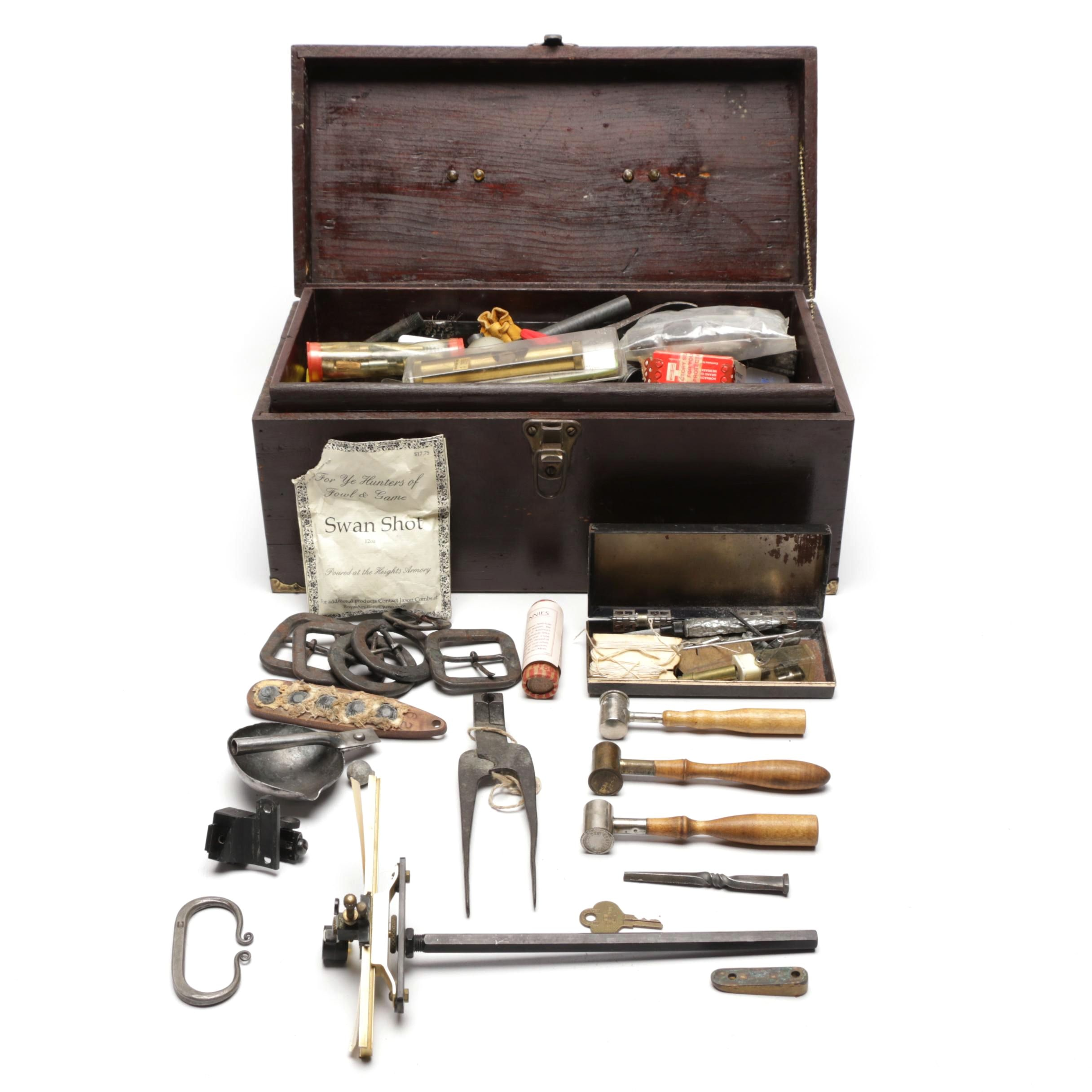 Silversmith Tools Including Shot and Powder Dippers, Tools, Gun Flints and More