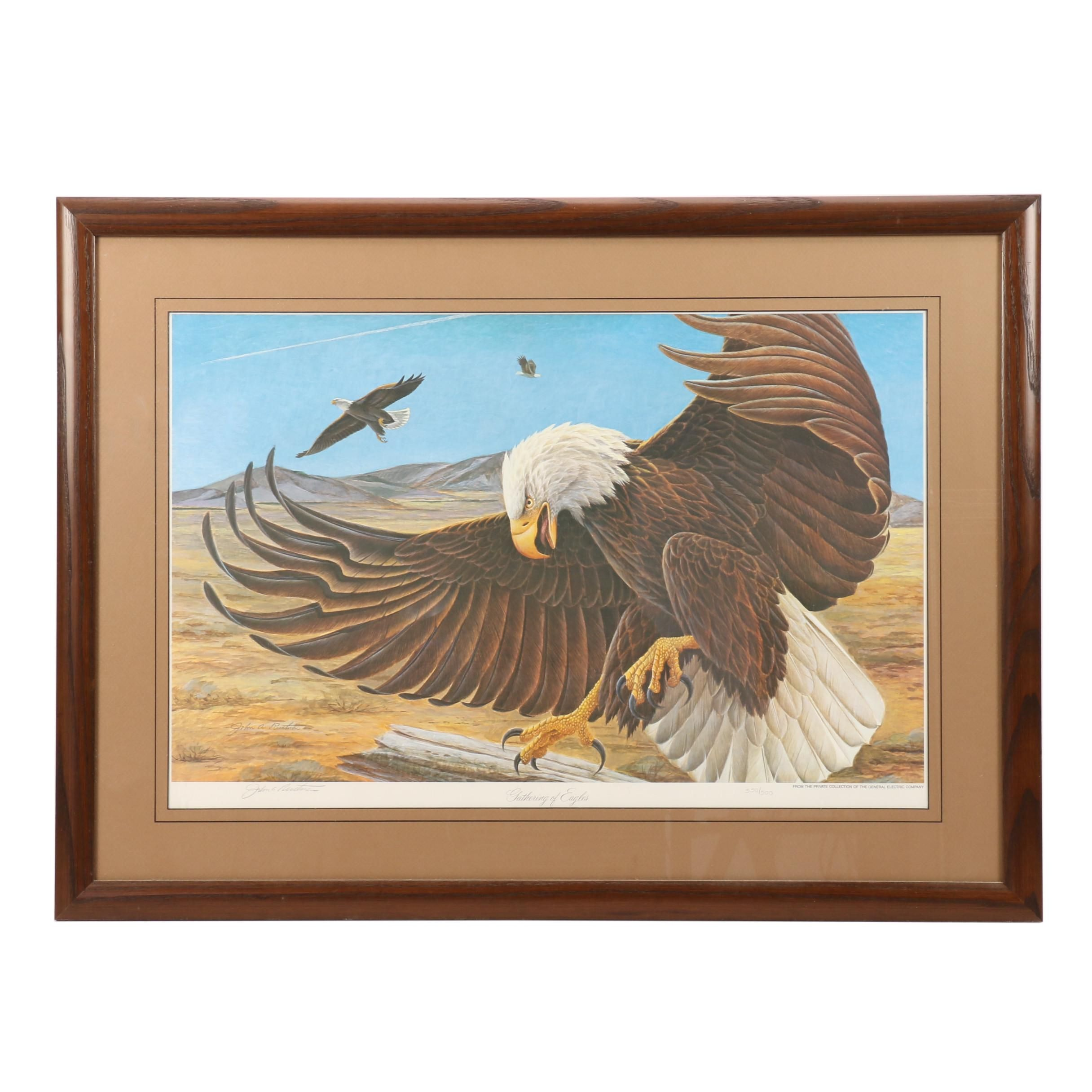 "John A. Ruthven Limited Edition Offset Lithograph ""Gathering of Eagles"""