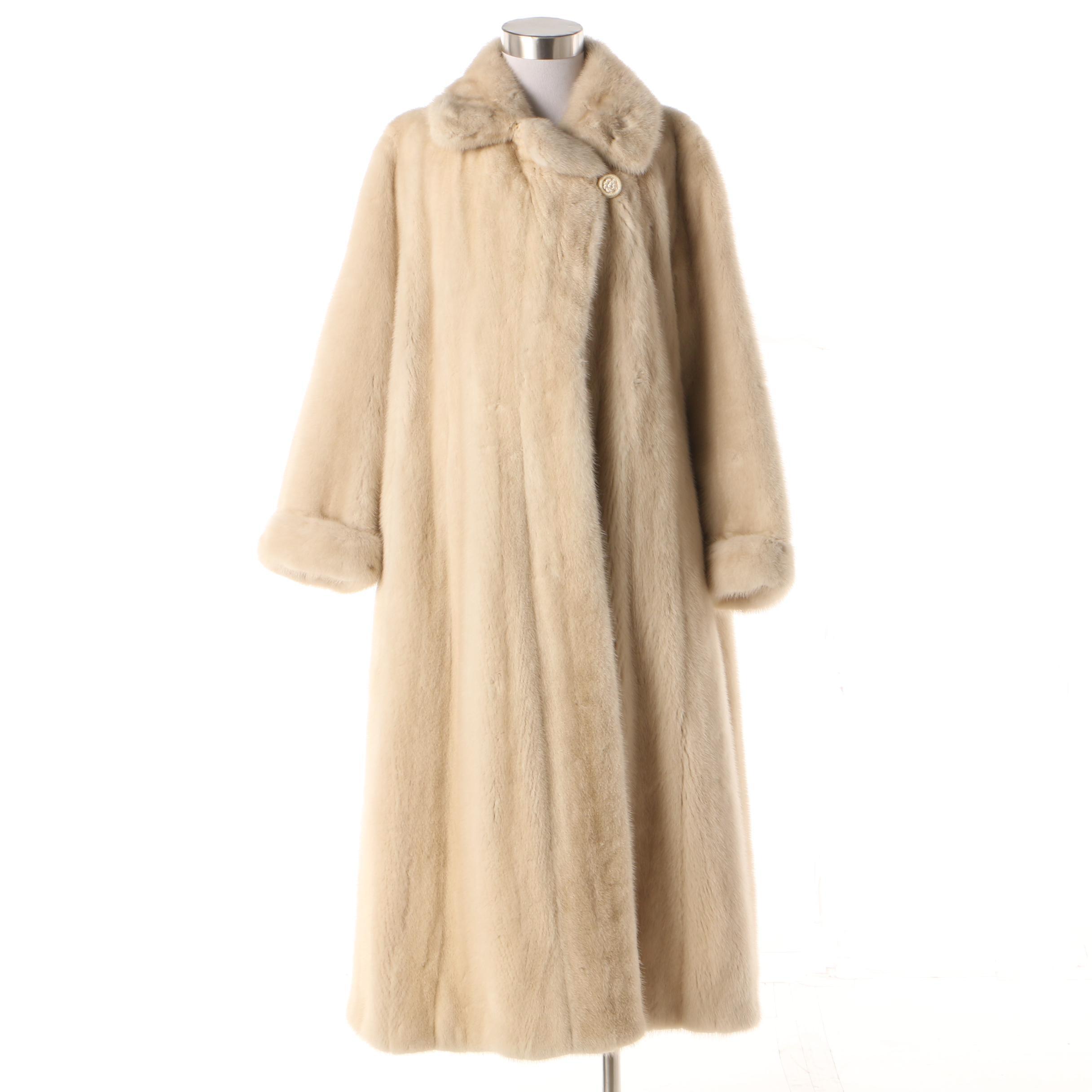 Women's Vintage Blonde Mink Fur A-Line Coat