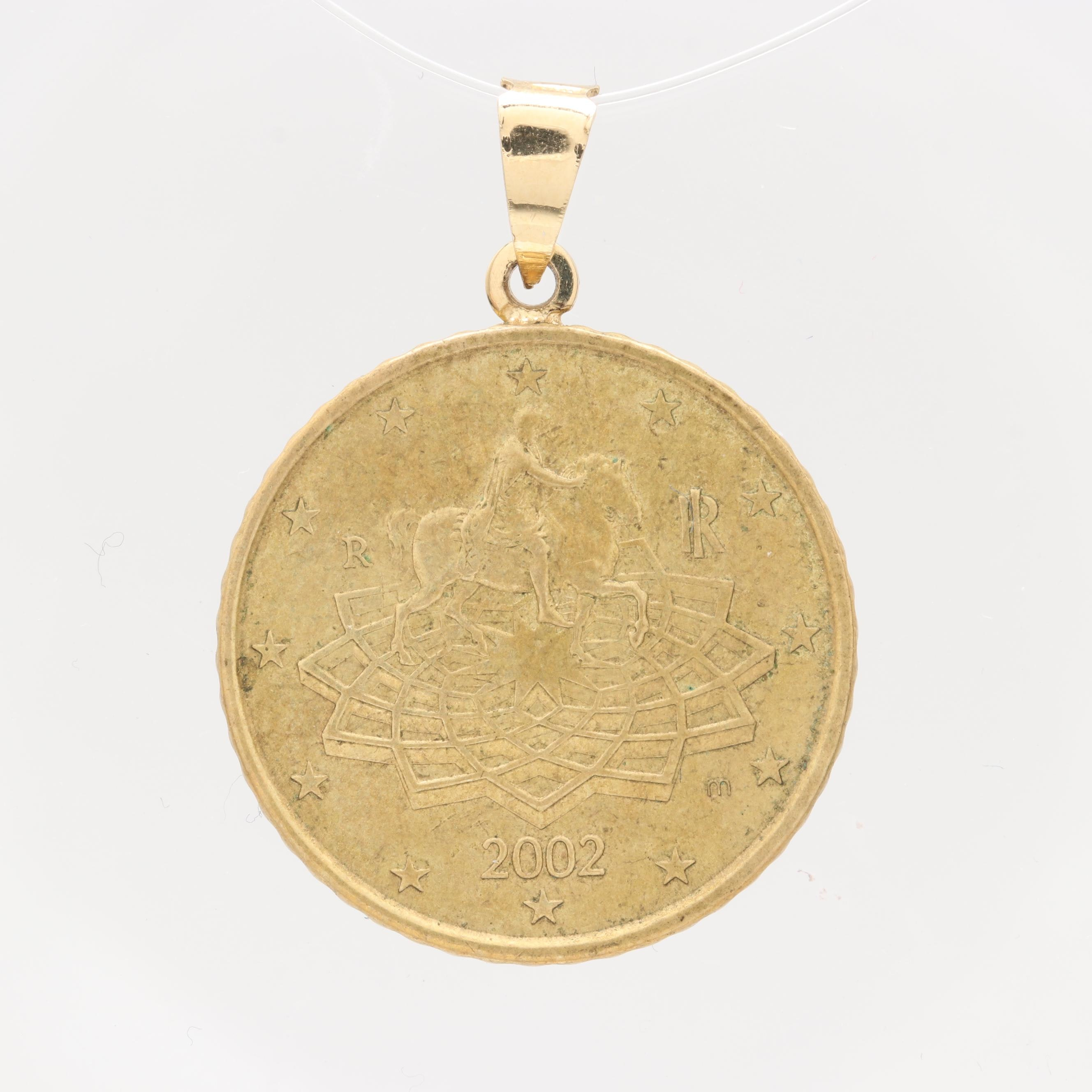 14K Yellow Gold and Gold Tone Pendant with 2002 50 Cent Euro Coin