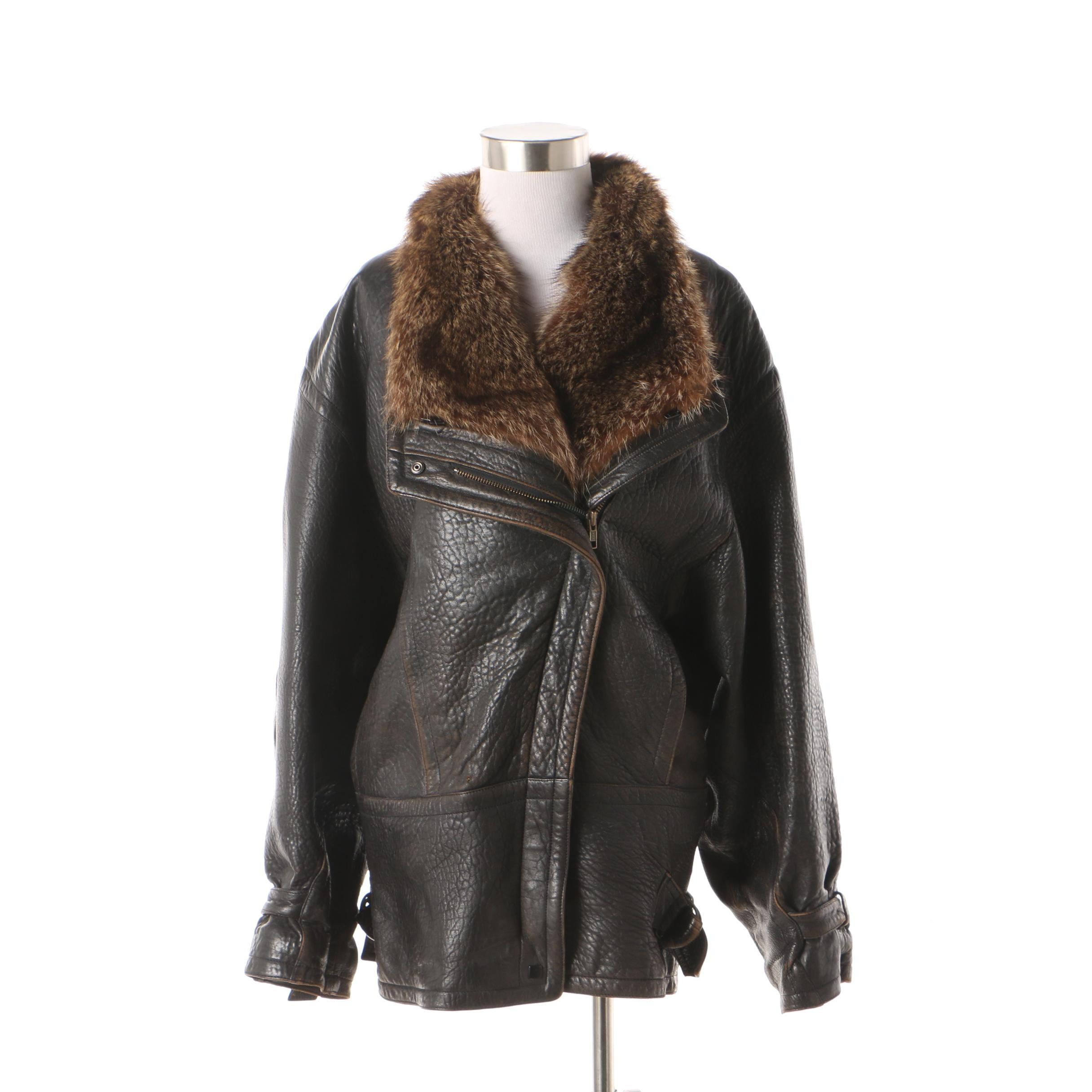 Marc Buchanan Pellé Pellé Distressed Leather Jacket with Raccoon Fur Collar