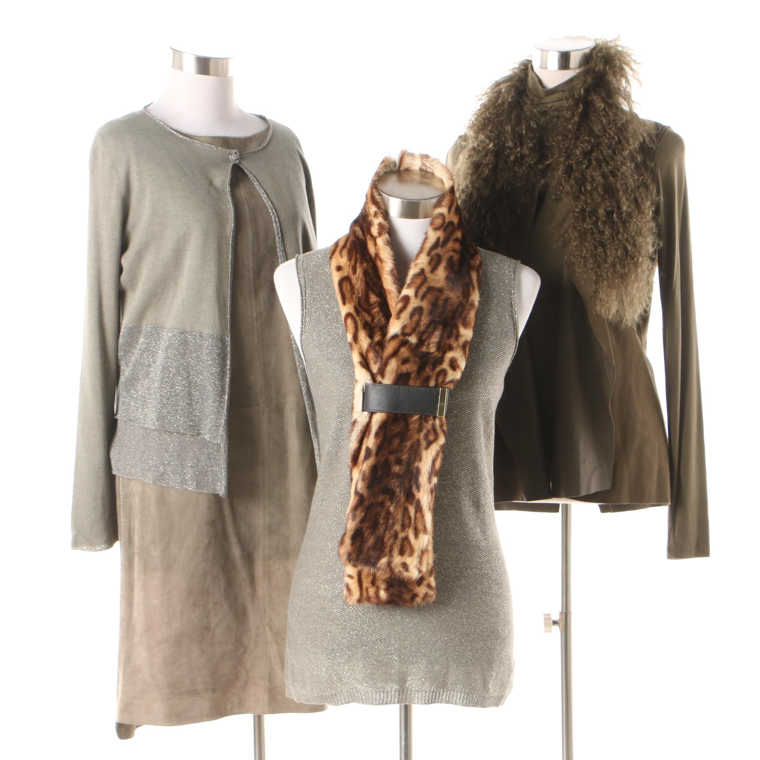 Women's Tops and Sweaters Including Per Se Goat Fur Scarf