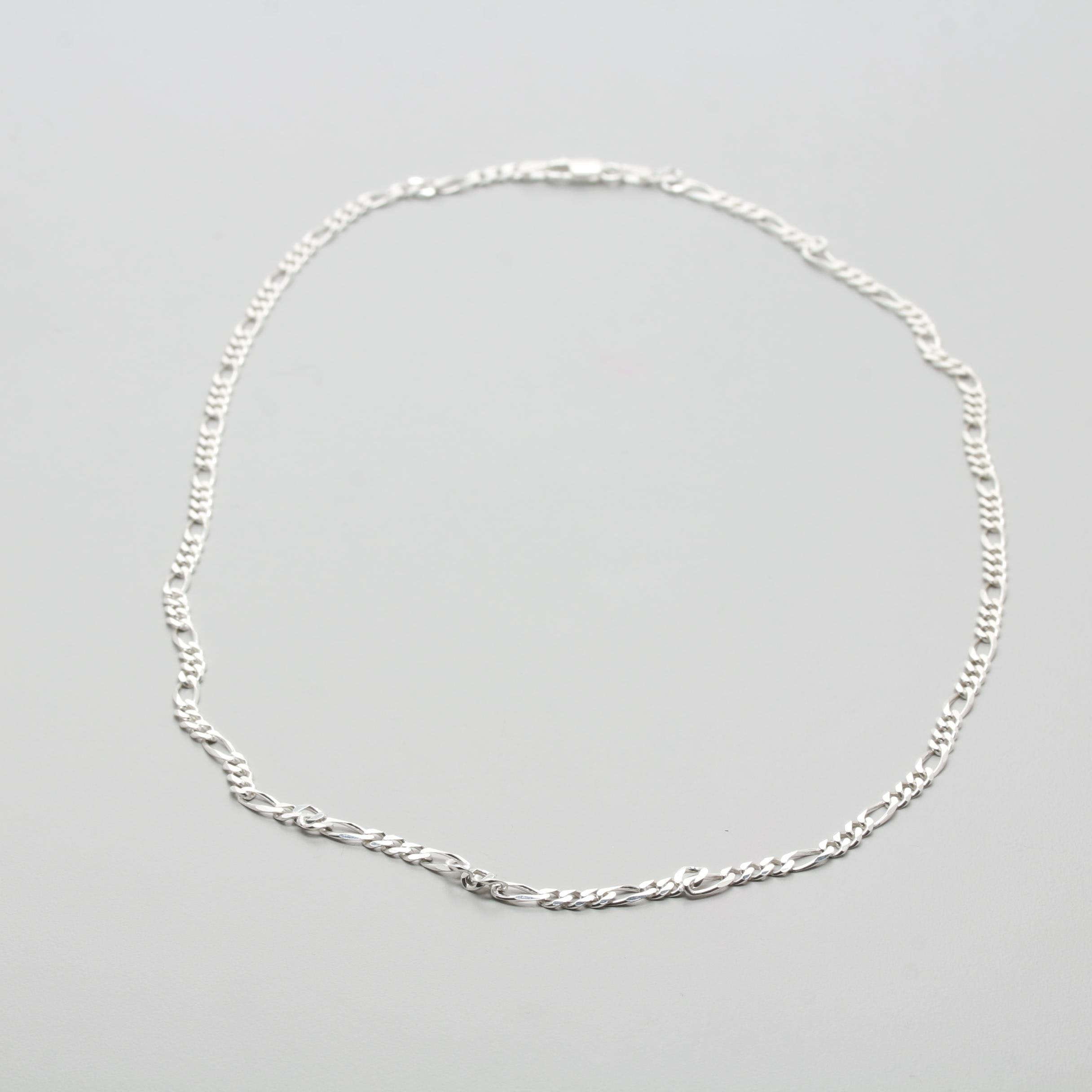Sterling Sliver Figaro Chain Necklace