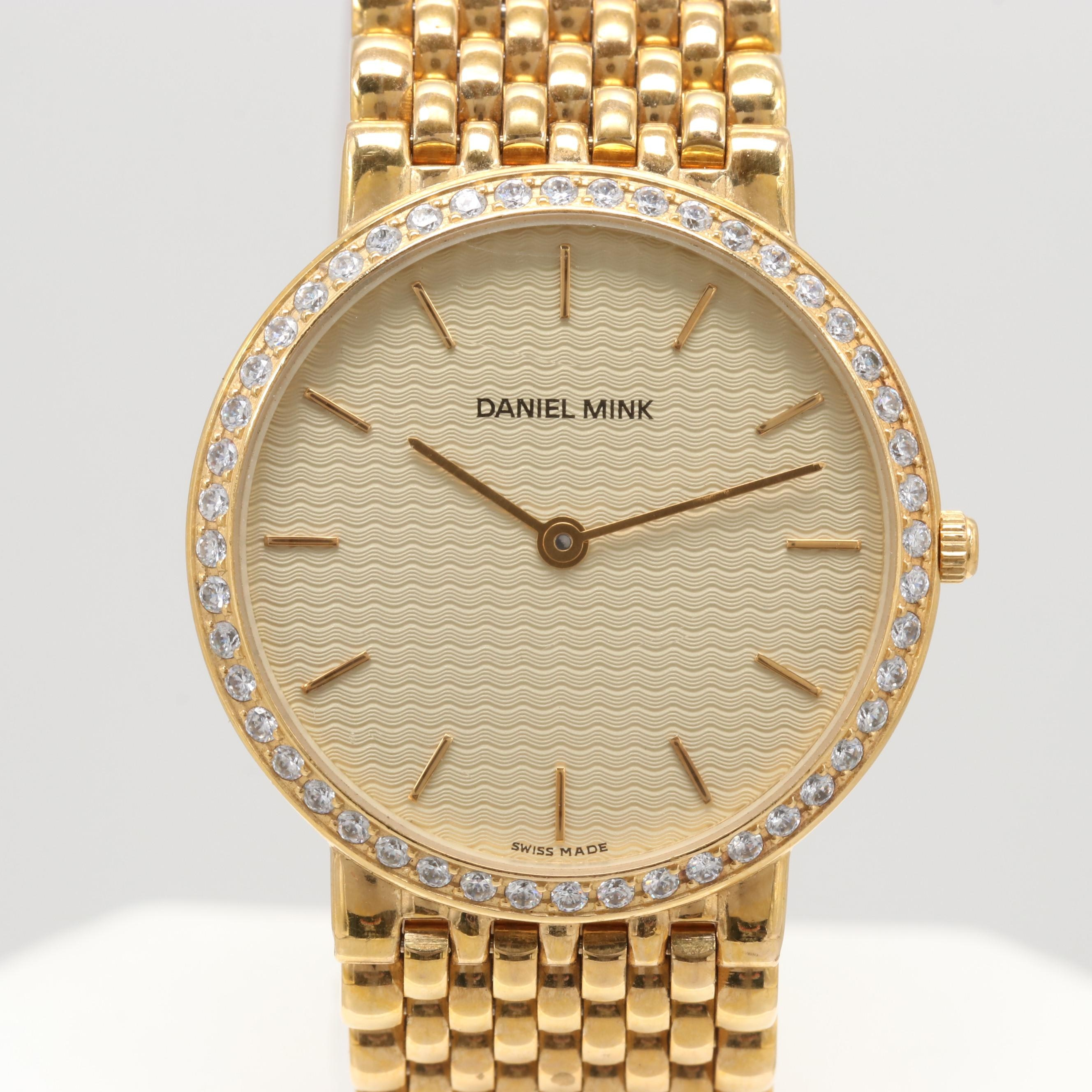 Daniel Mink 18K Gold Plated Wristwatch with Glass Crystal Accented Bezel