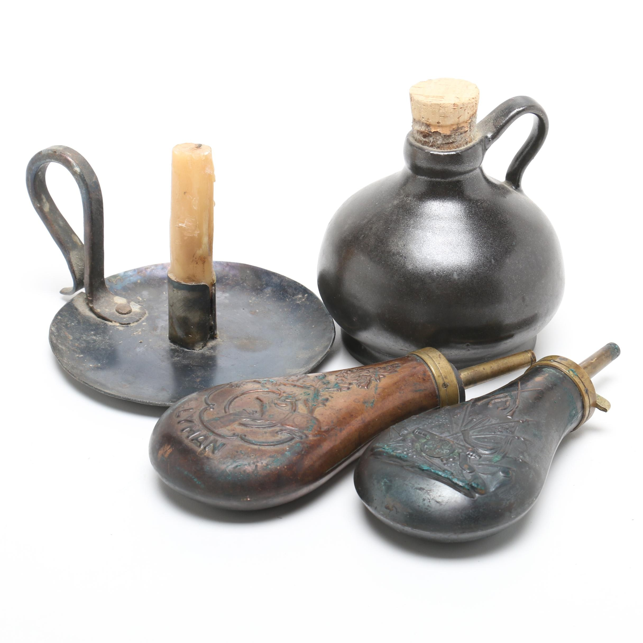Vintage Powder Flasks, Metal Candle Holder, and Stoneware Jug