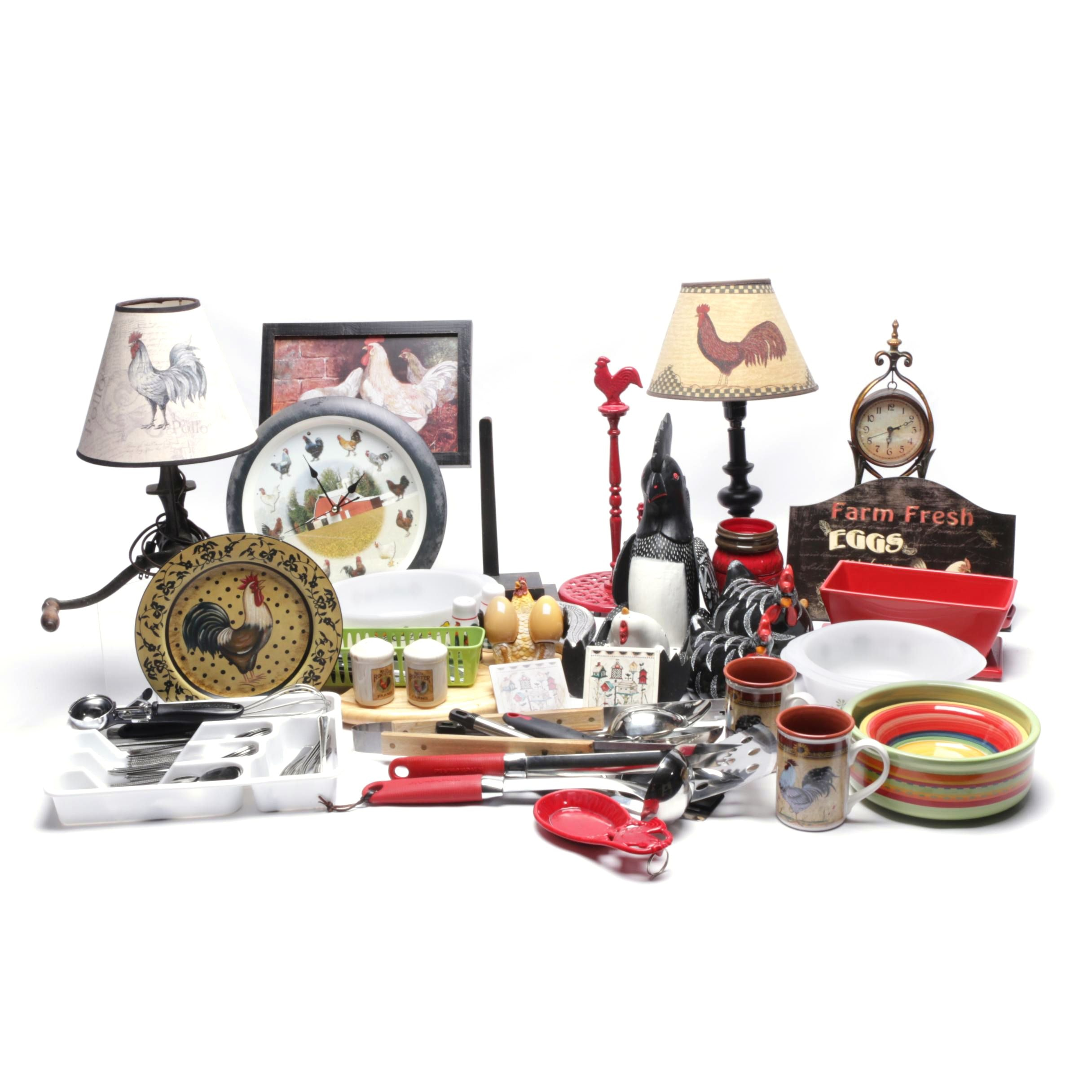Rooster Decor and Kitchenware Including Kitchenaid and Anchor Hawking