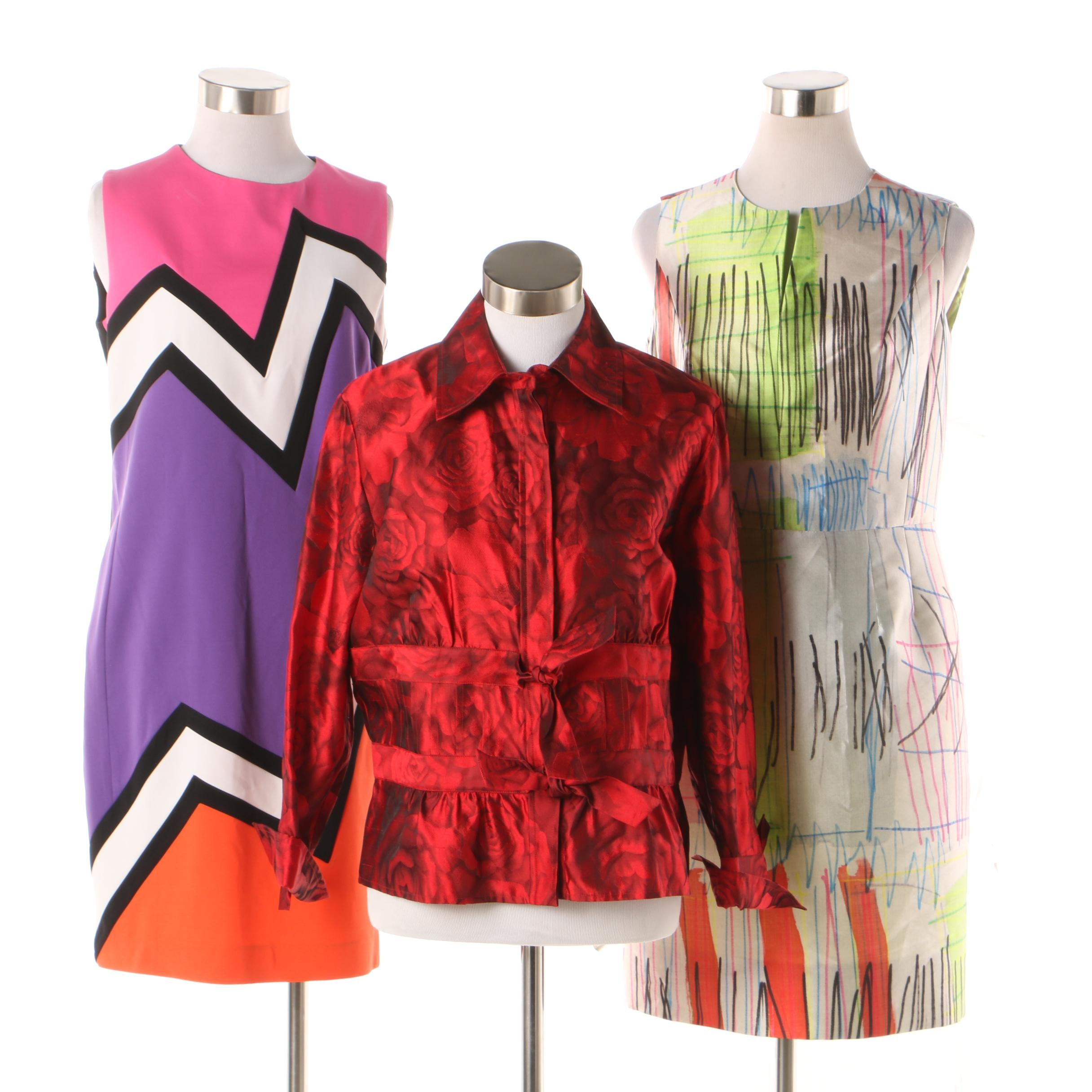 Abstract Print Sleeveless Designer Dresses and Carlisle Rose Print Blouse