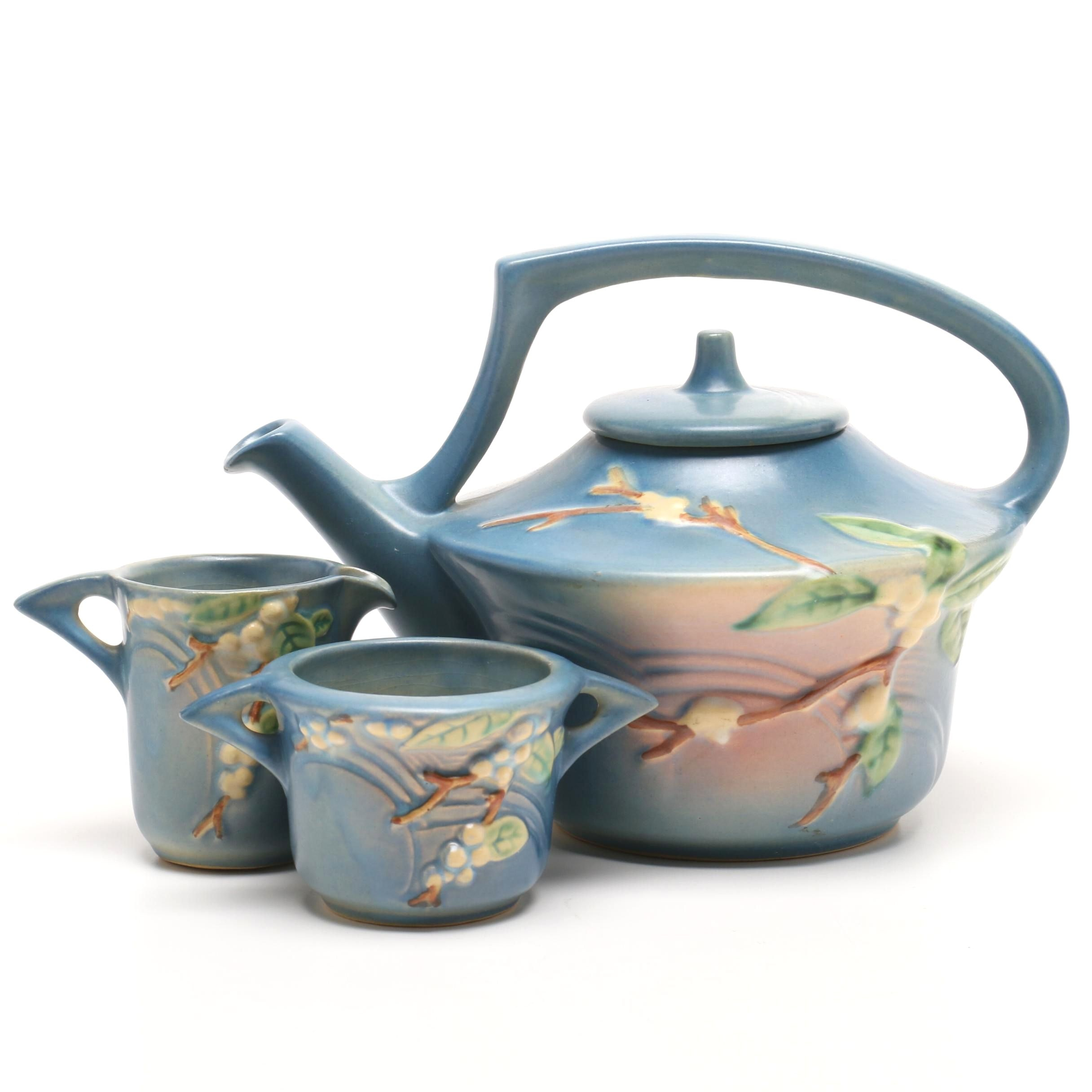 "Roseville Pottery ""Snowberry"" Tea Set in Blue Glaze"
