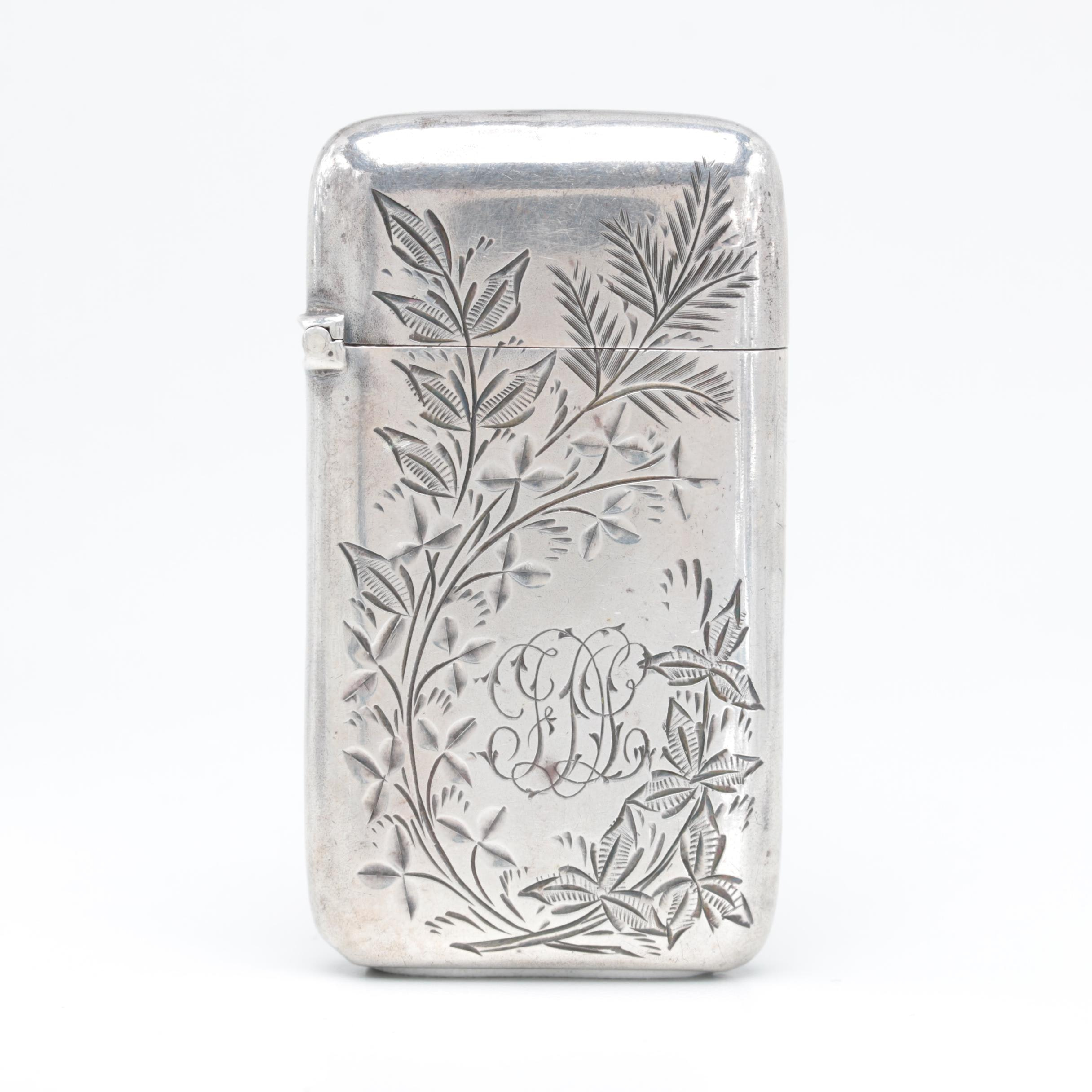 Vintage Frank M. Whiting & Co. Sterling Silver Engraved Match Case