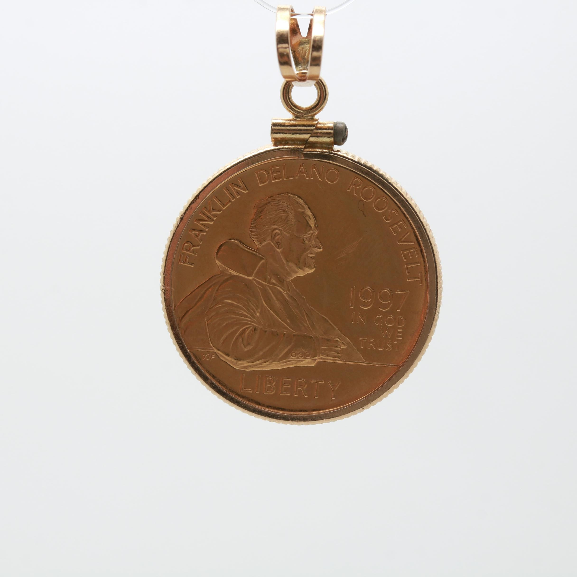 14K Yellow Gold Pendant with 1997 $5 22K Gold W. Franklin D. Roosevelt Coin