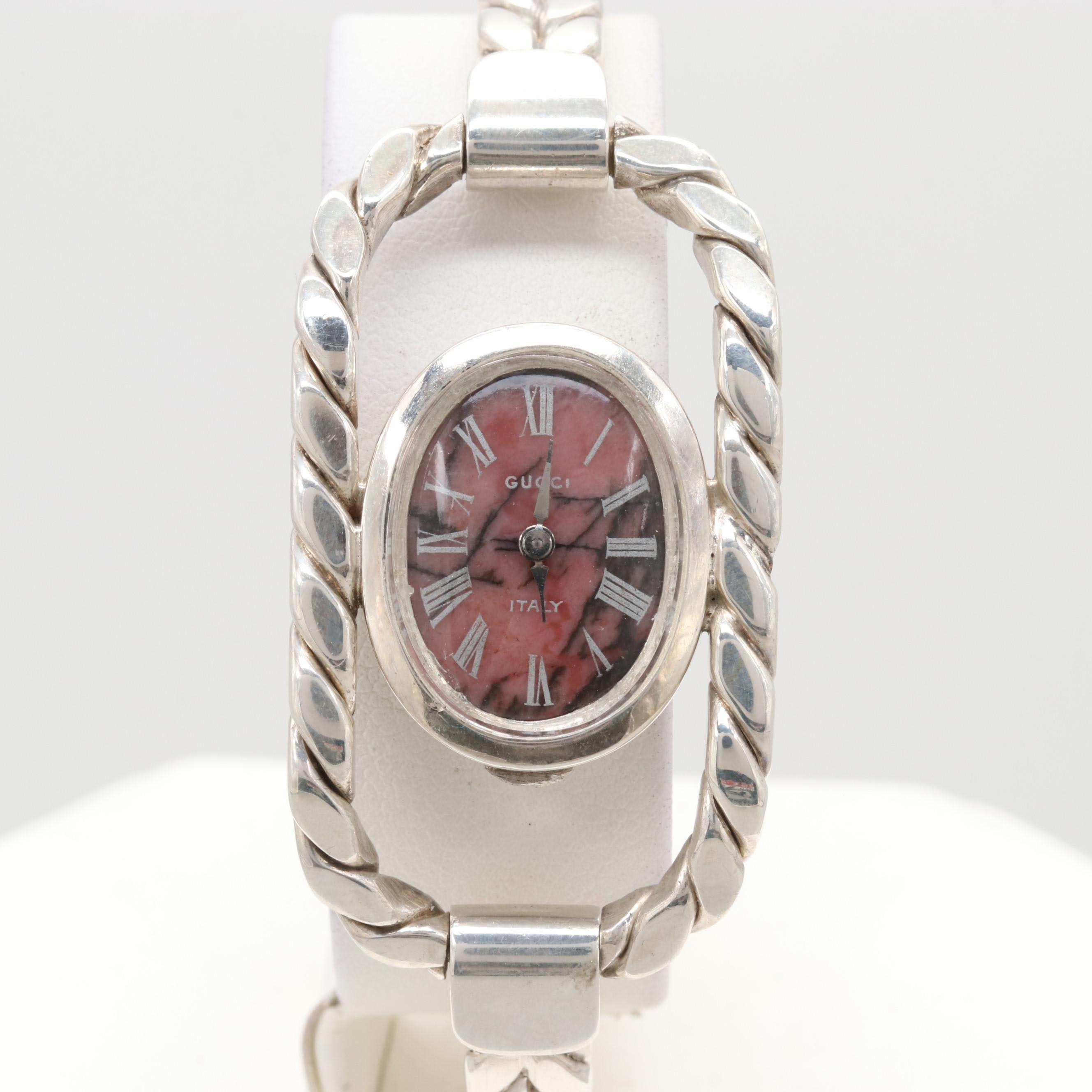 Gucci Sterling Silver Wristwatch with Rhodonite Dial