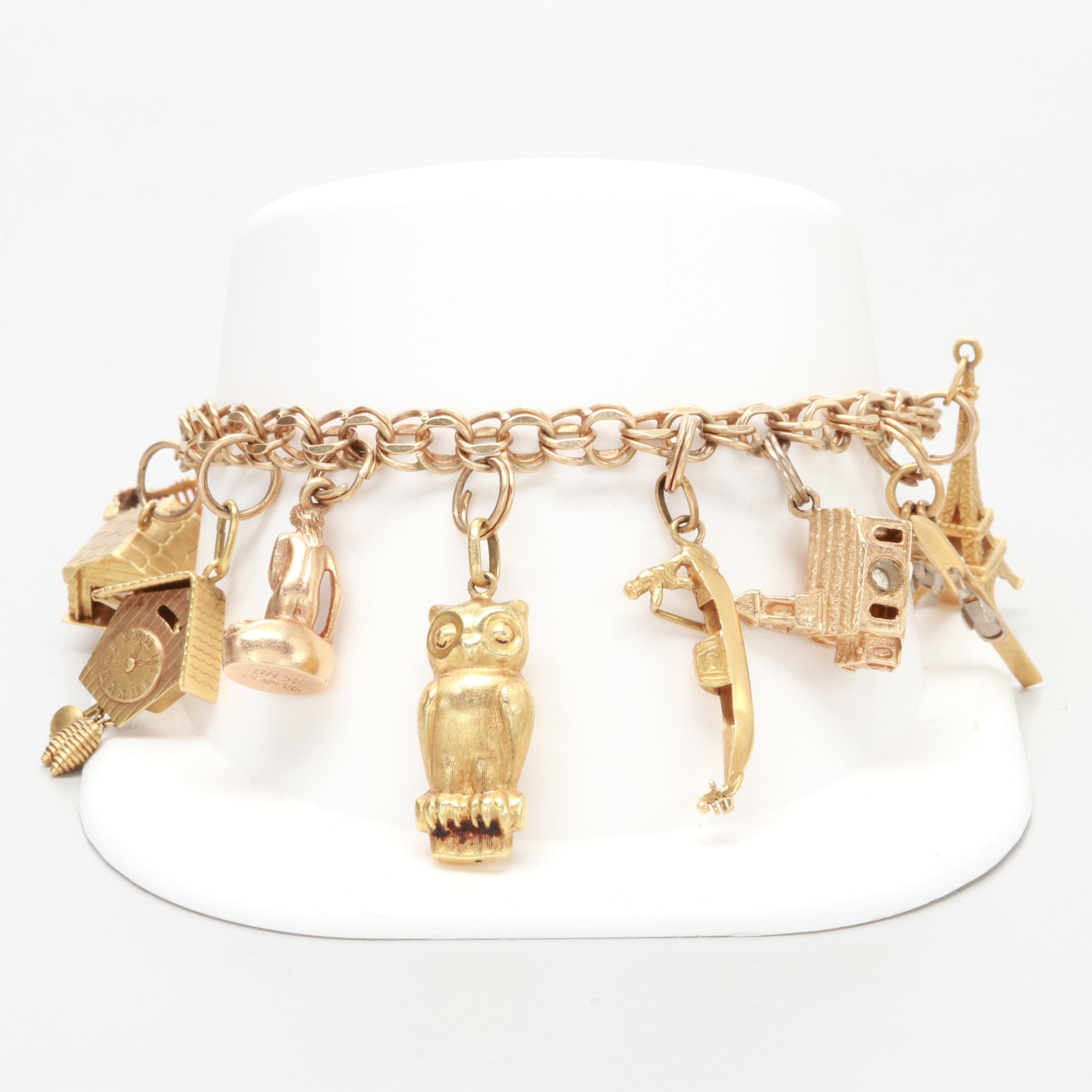 Vintage 14K Yellow Gold Charm Bracelet with 18K, 14K and 9K Gold Charms