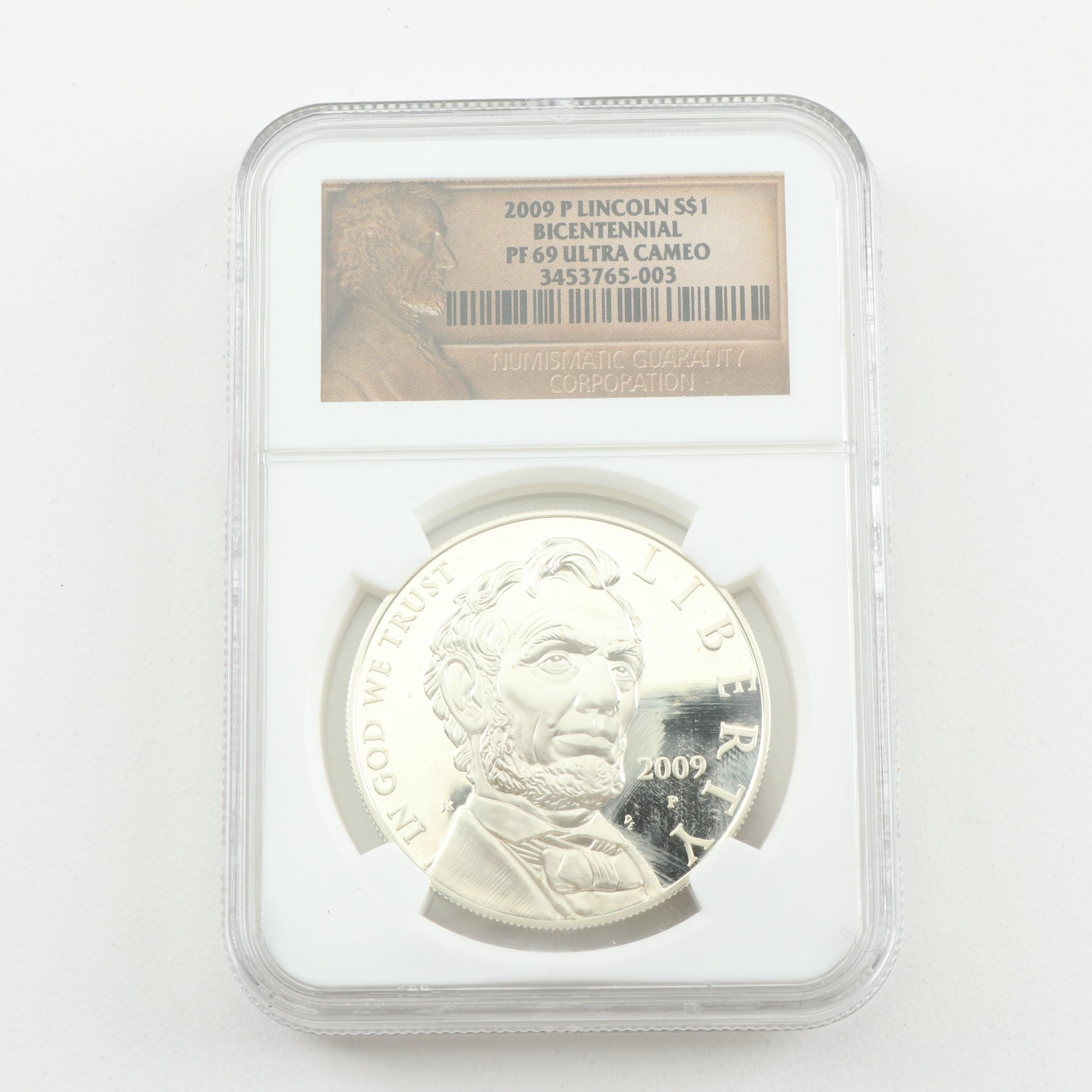 NGC Graded PF69 Ultra Cameo 2009 Lincoln Bicentennial $1 Commemorative Coin