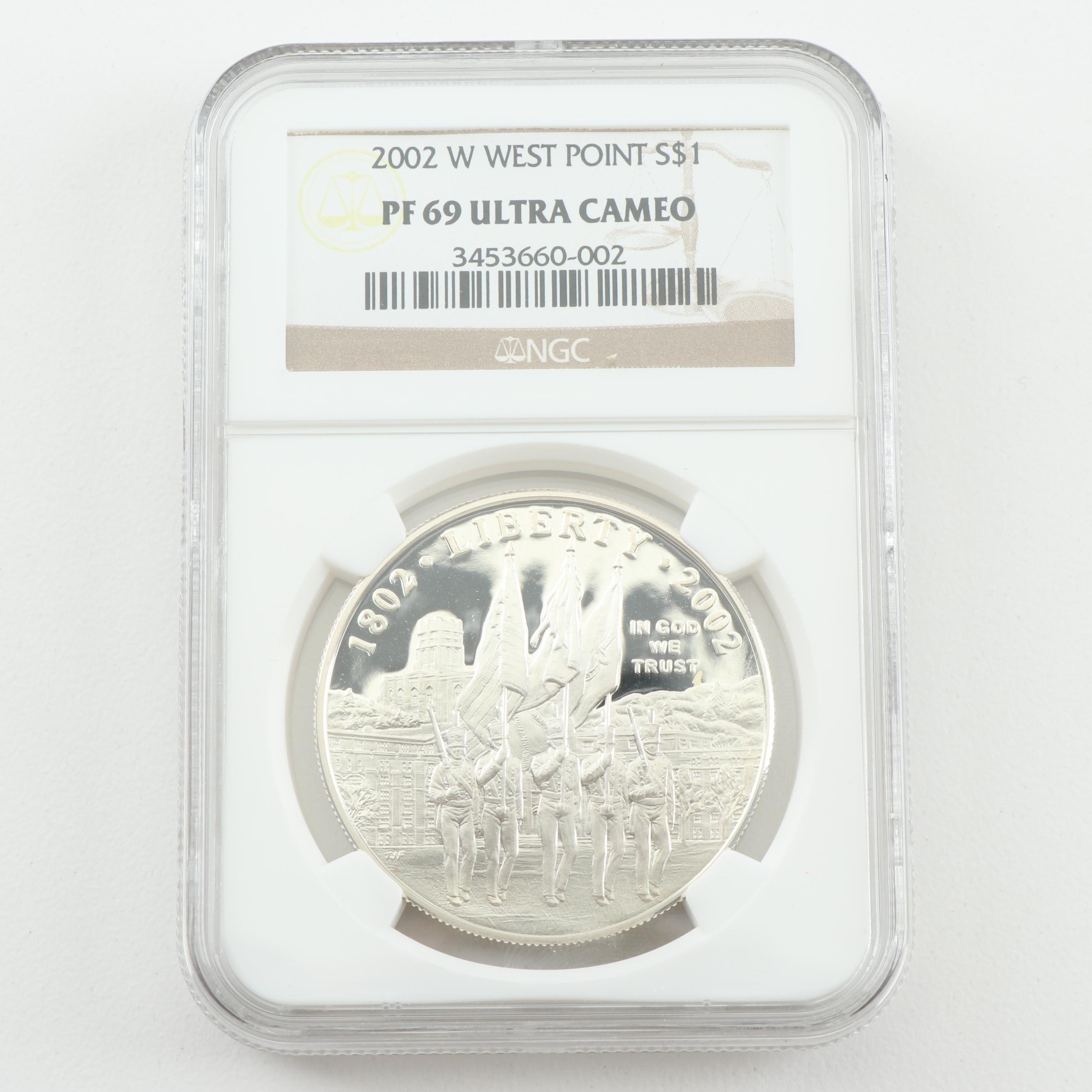 NGC Graded PF 69 Ultra Cameo 2002-W West Point $1 Proof Coin