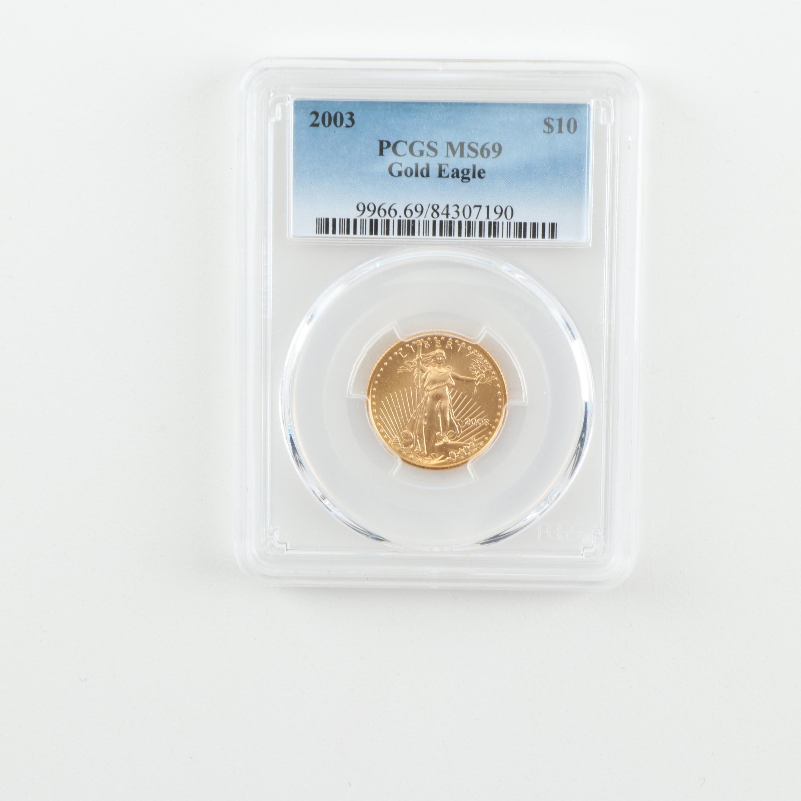 PCGS Graded MS69 2003 $10 Gold Eagle Coin