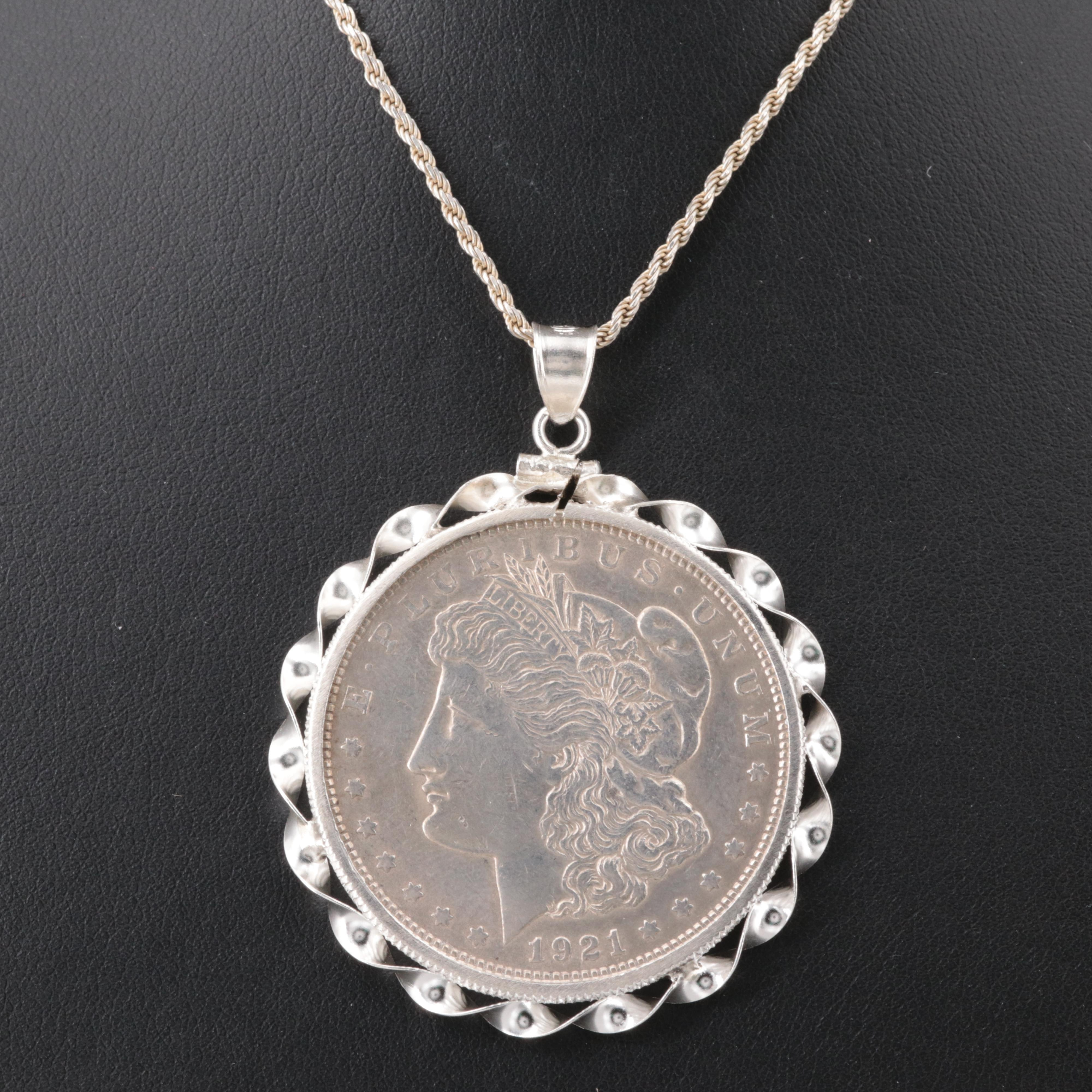 1921 Morgan Silver Dollar in Sterling Silver Bezel and Necklace