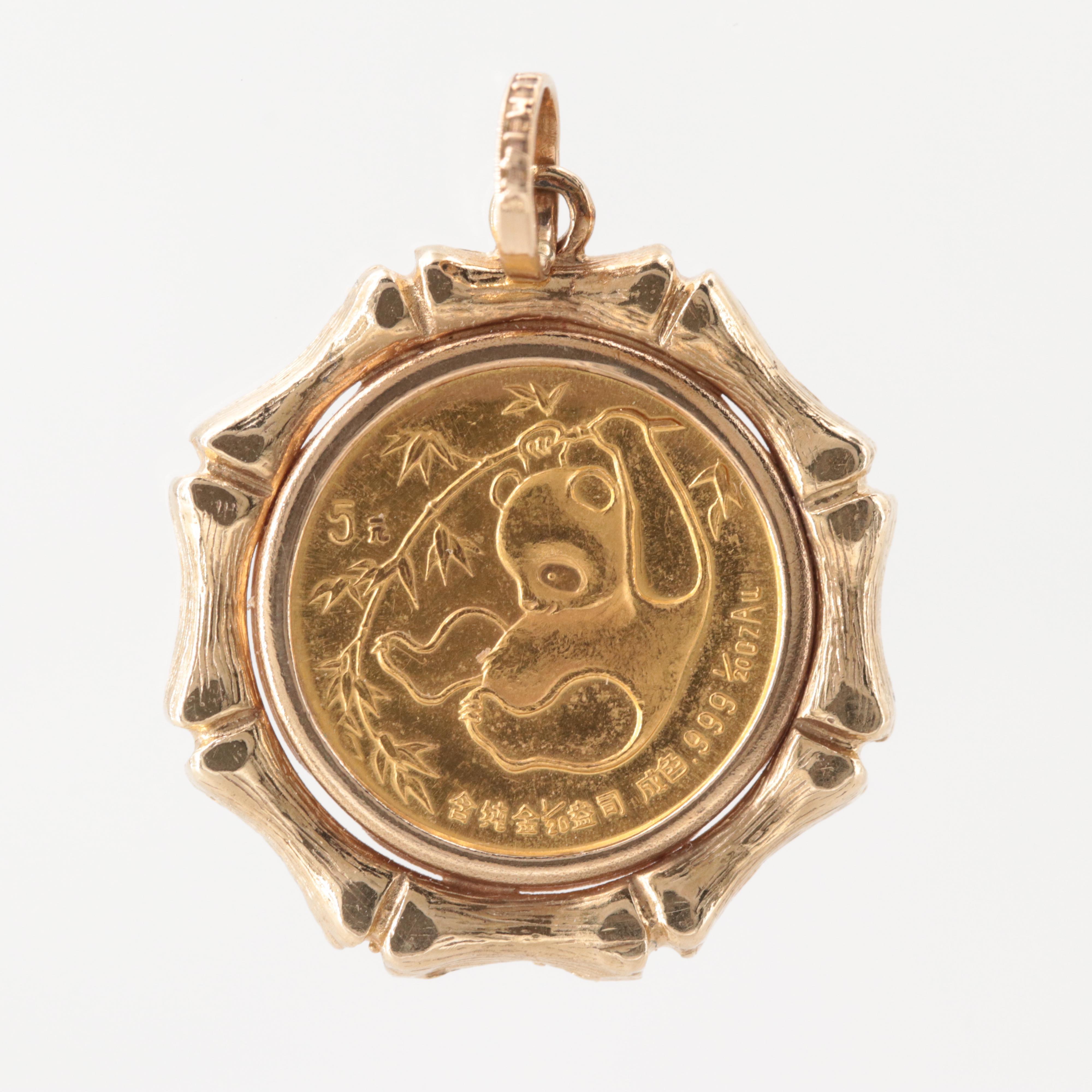 24K Chinese 5 Yuan Panda Coin in a 14K Yellow Gold Bezel
