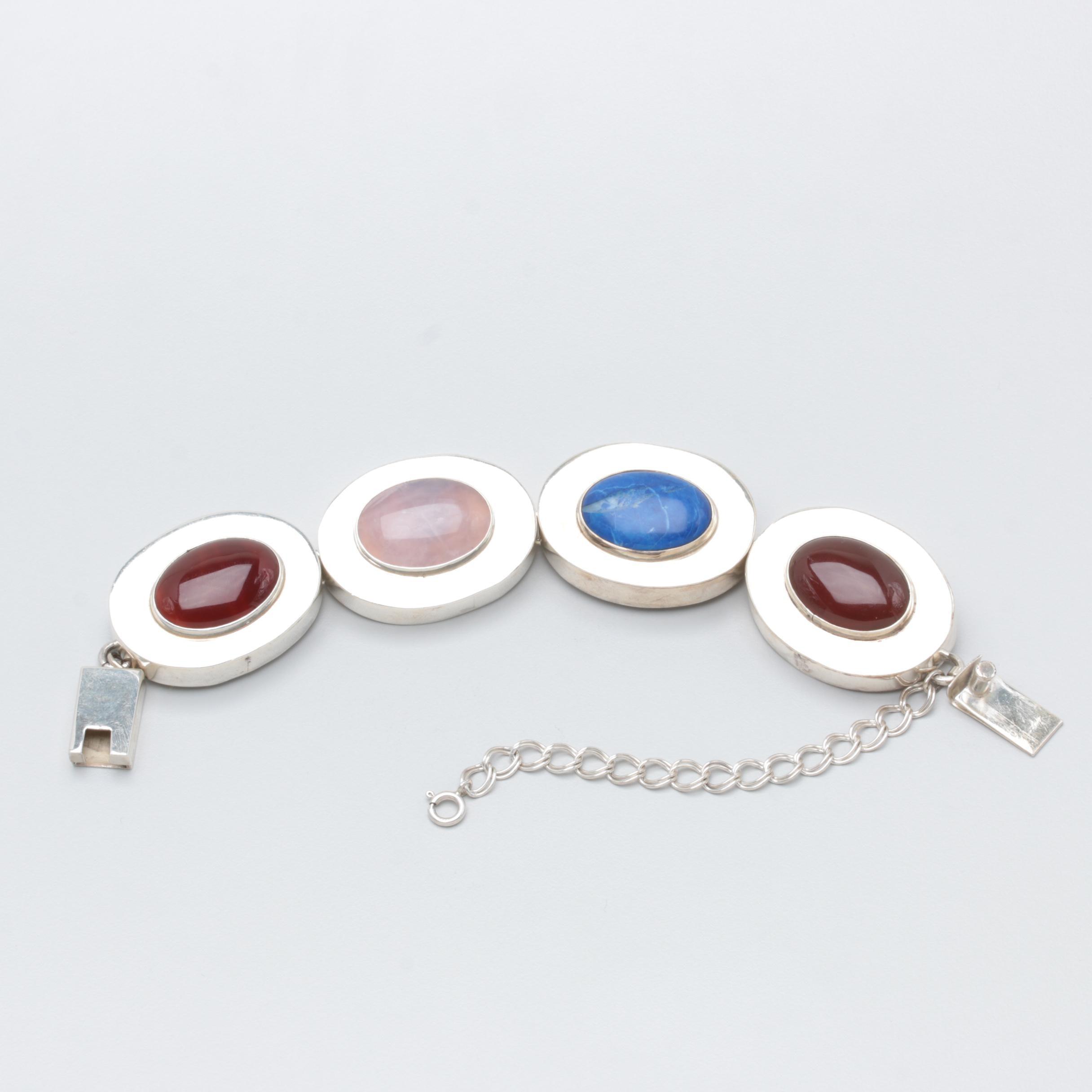 Brenda Schoenfeld Mexican Sterling Rose Quartz, Carnelian and Quartzite Bracelet