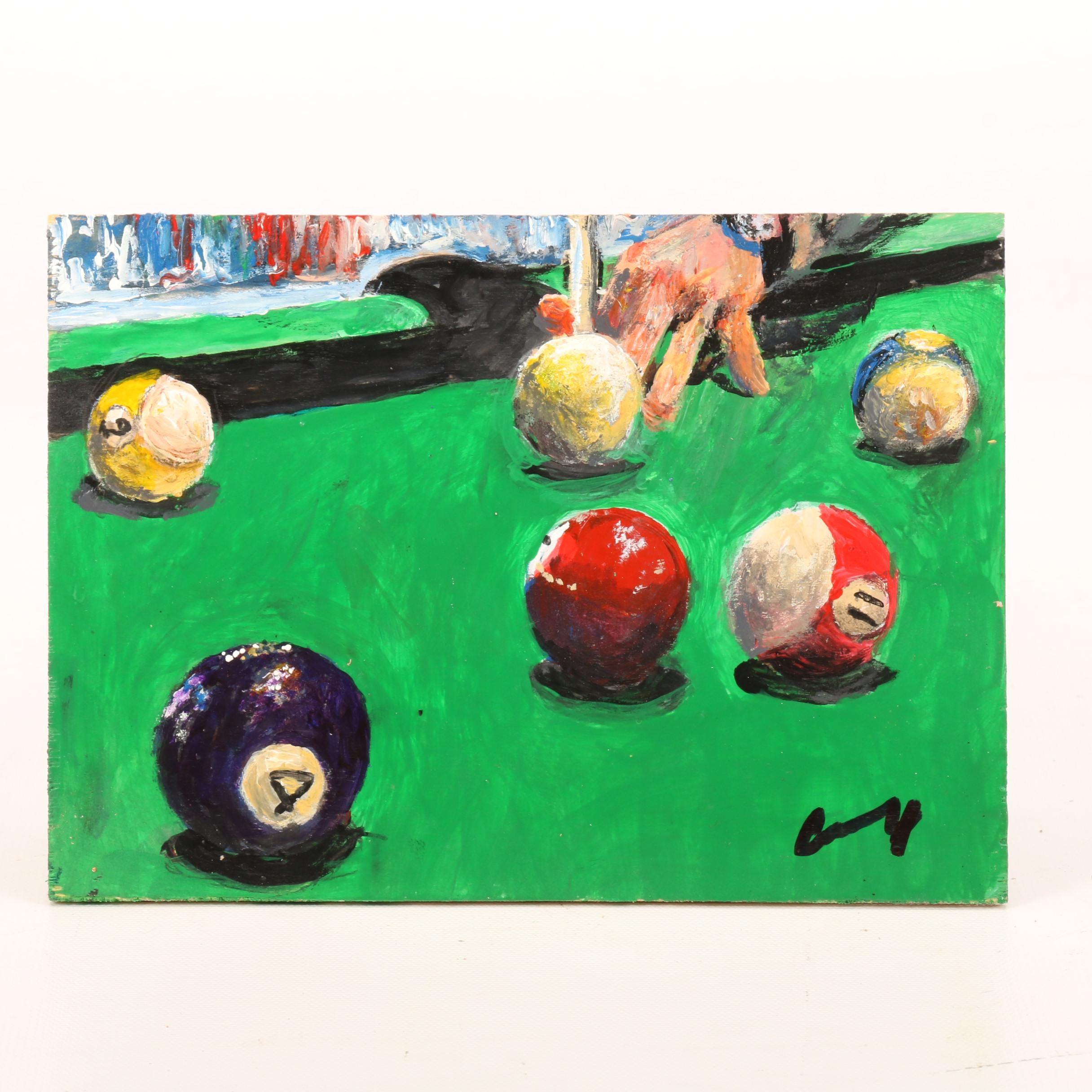 "Jim Conroy Oil Painting ""Corner Pocket"""
