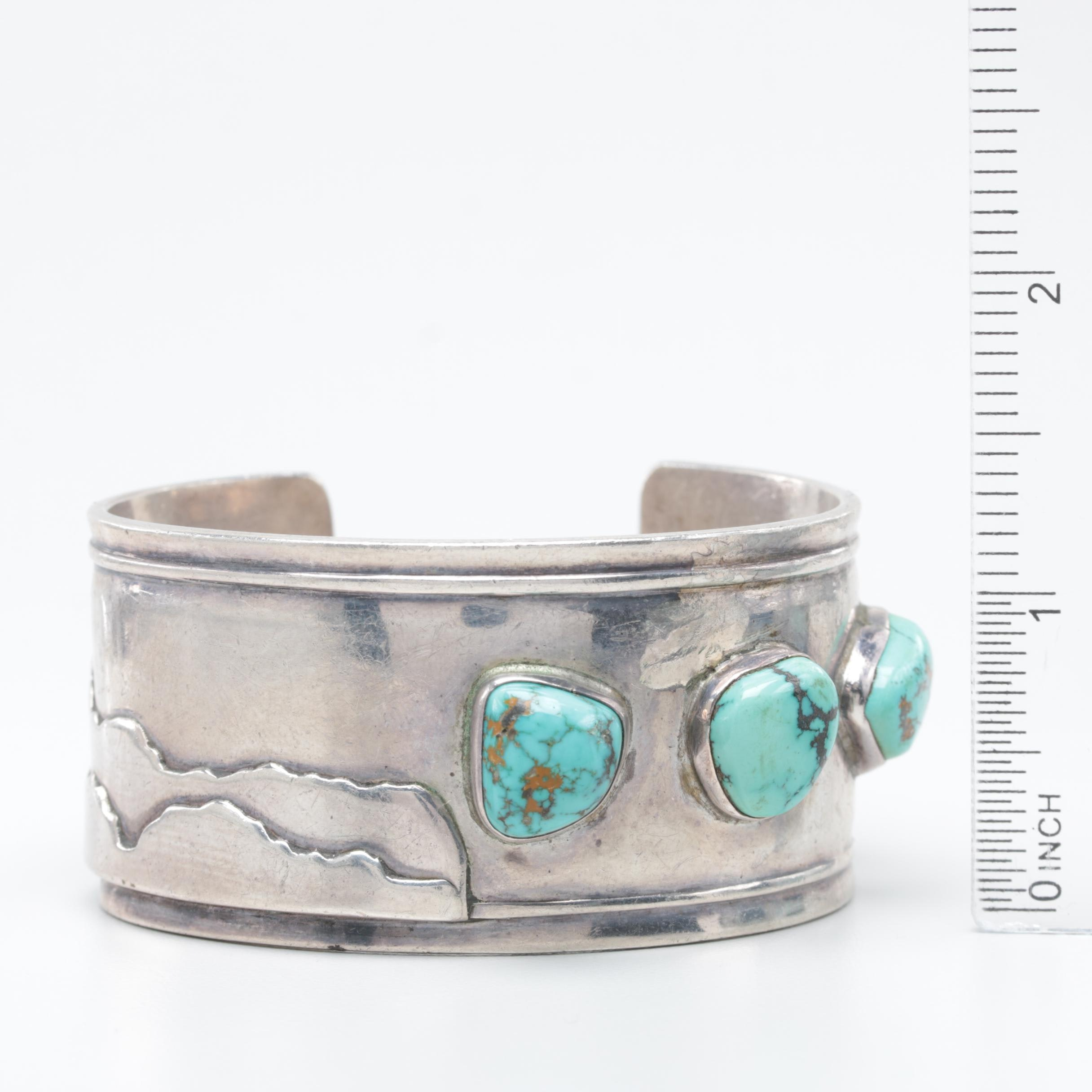 Southwestern Style George Stumpff Sterling Silver Turquoise Cuff Bracelet