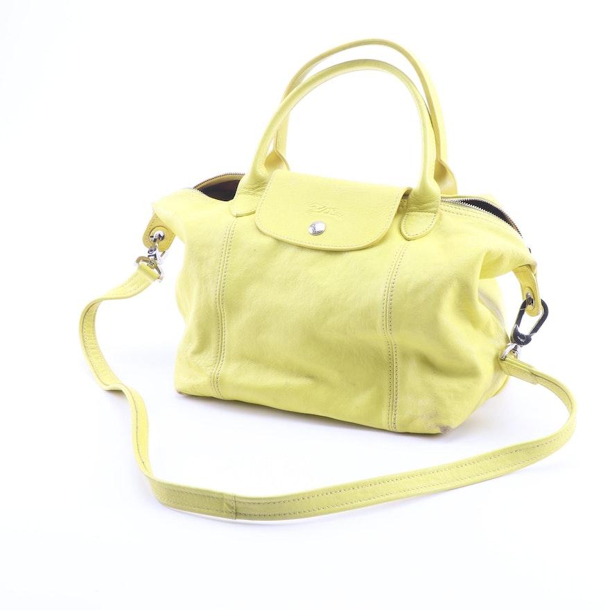 Longchamp Le Pliage Cuir Small Yellow Leather Convertible Handbag   EBTH d20e592a6d5c6
