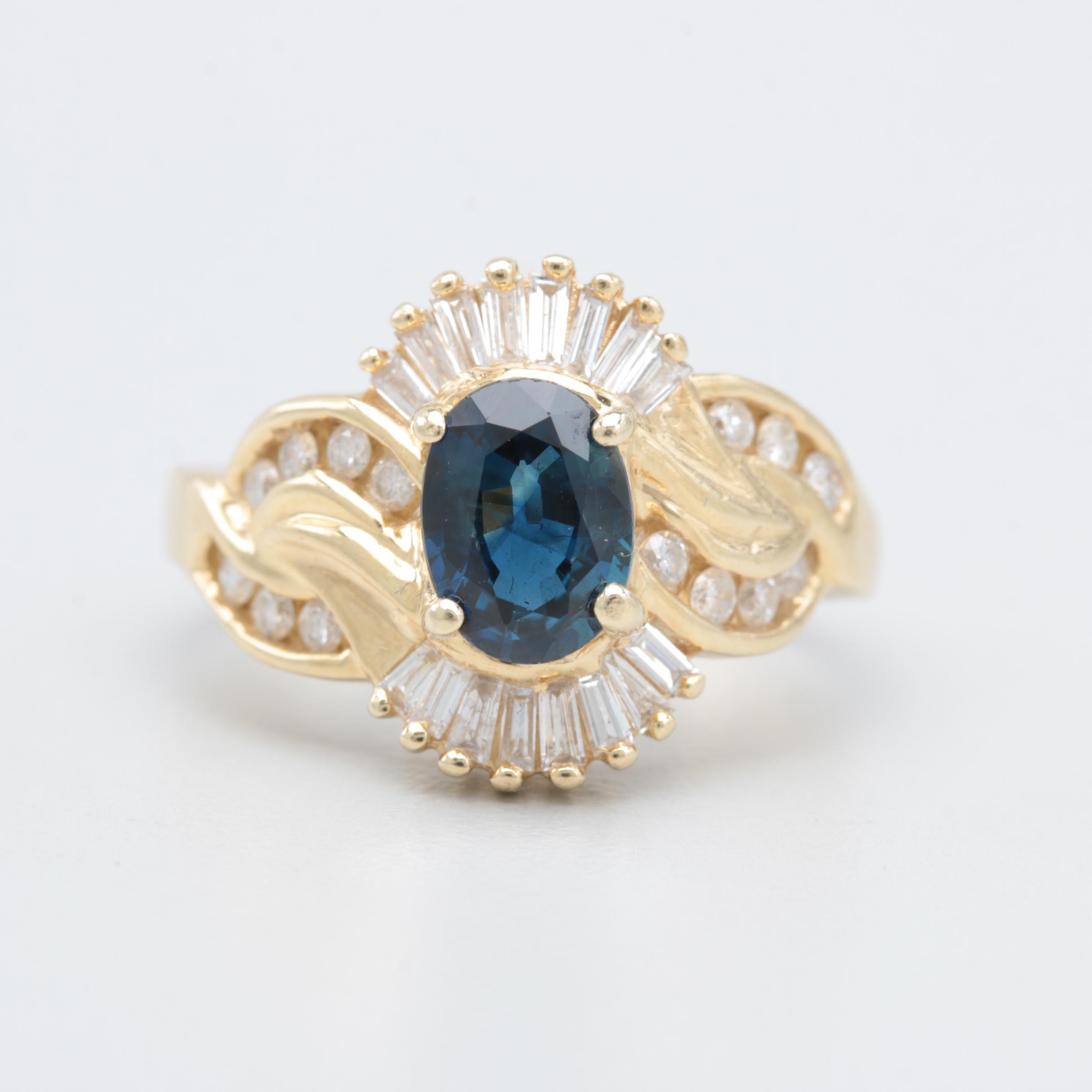 Vintage Abraham David Lowenstark 14K Yellow Gold Sapphire and Diamond Ring