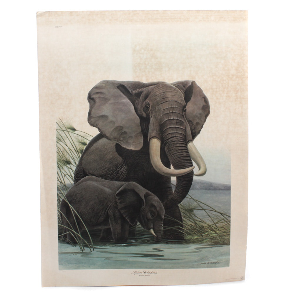 "John Ruthven Limited Edition ""African Elephants"" Offset Print"