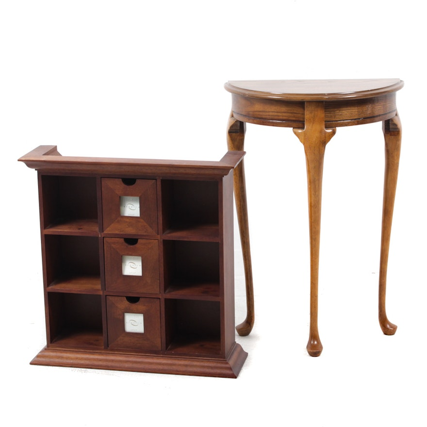 Butler Furniture Wood Demilune Hall Table And Wall Shelf Ebth