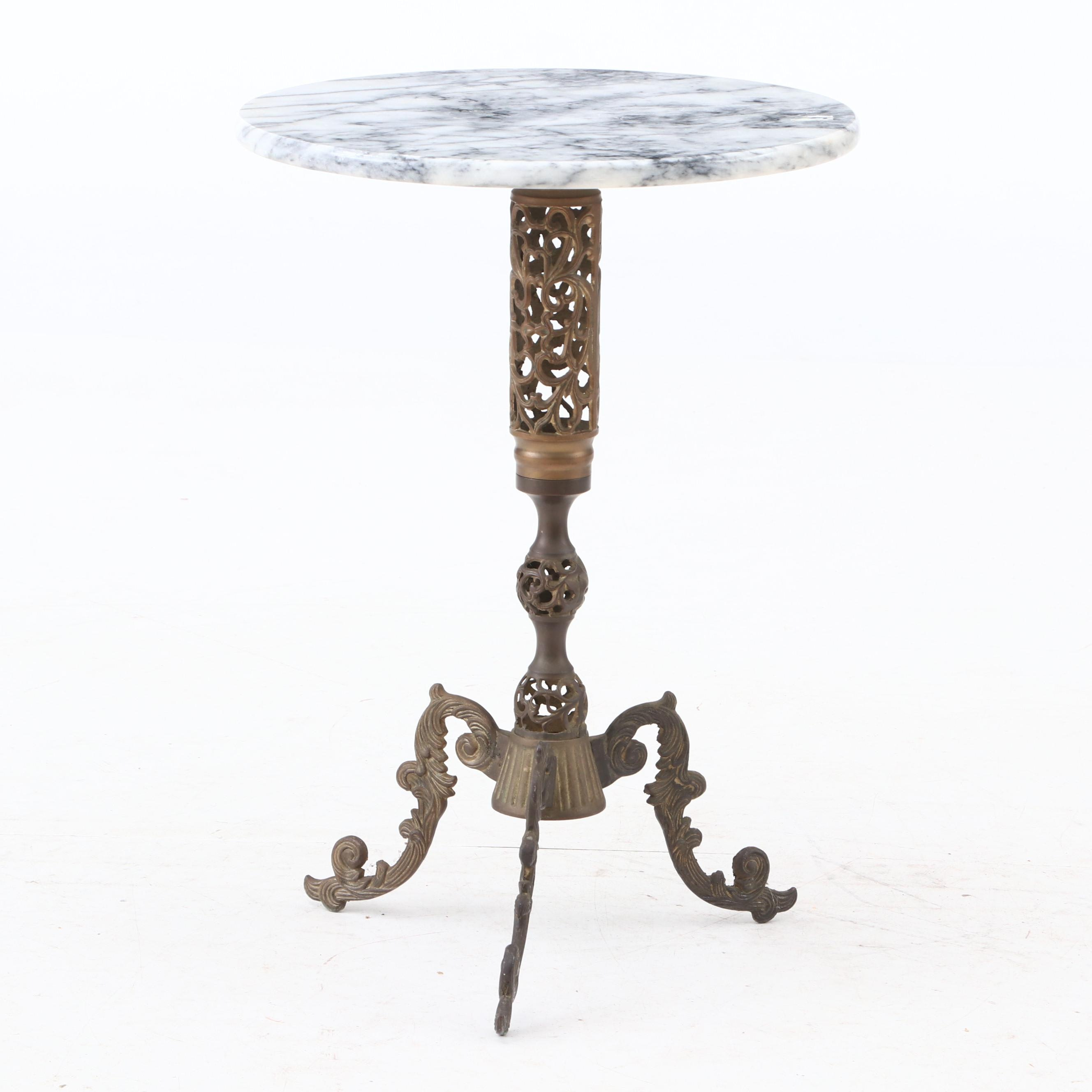 Cast Brass and Marble Occasional Table