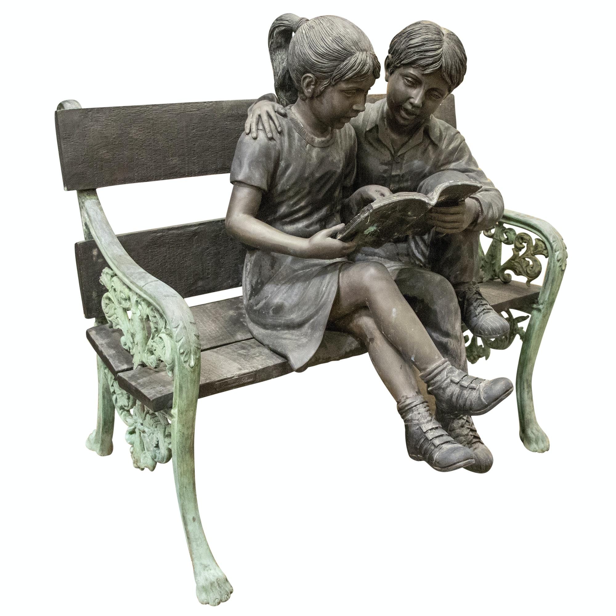 Leonardo Rossi Bronze Sculpture of Children Reading on Bench