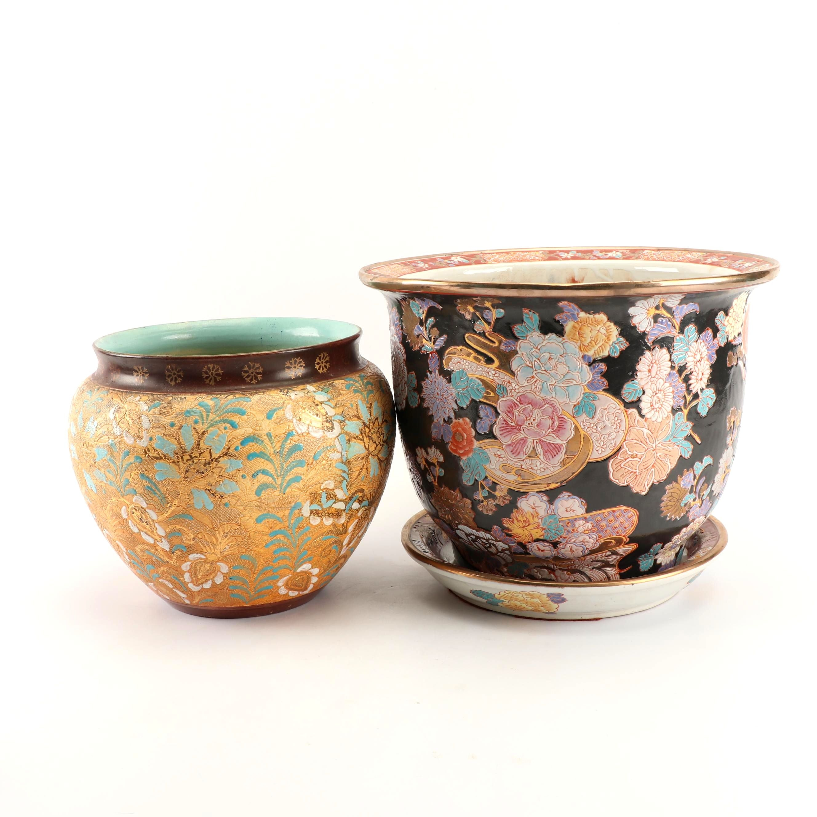 Chinese Floral Themed Planters including Gilt Covered