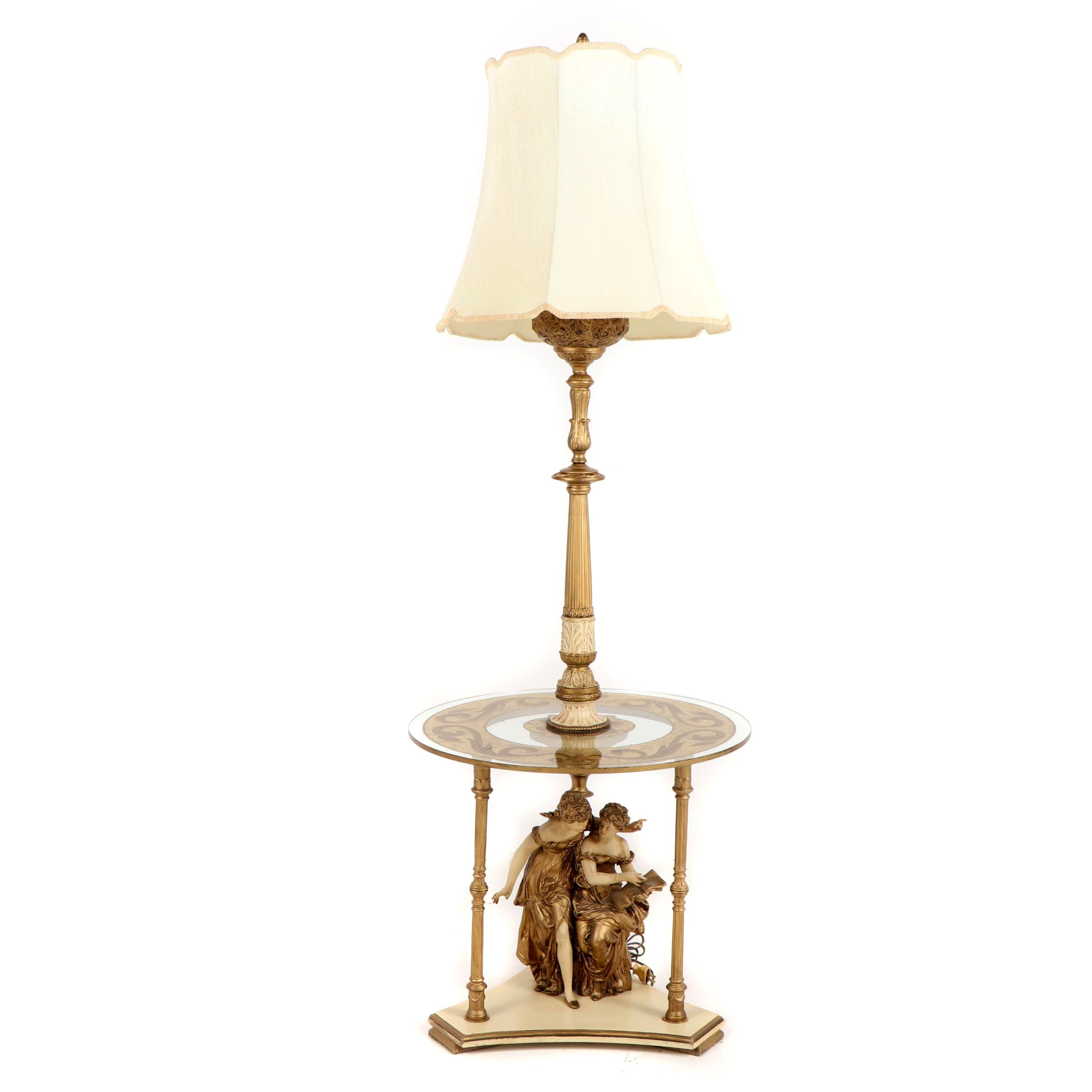 Baroque Style Gilt Metal and Glass Side Table Floor Lamp with Shade