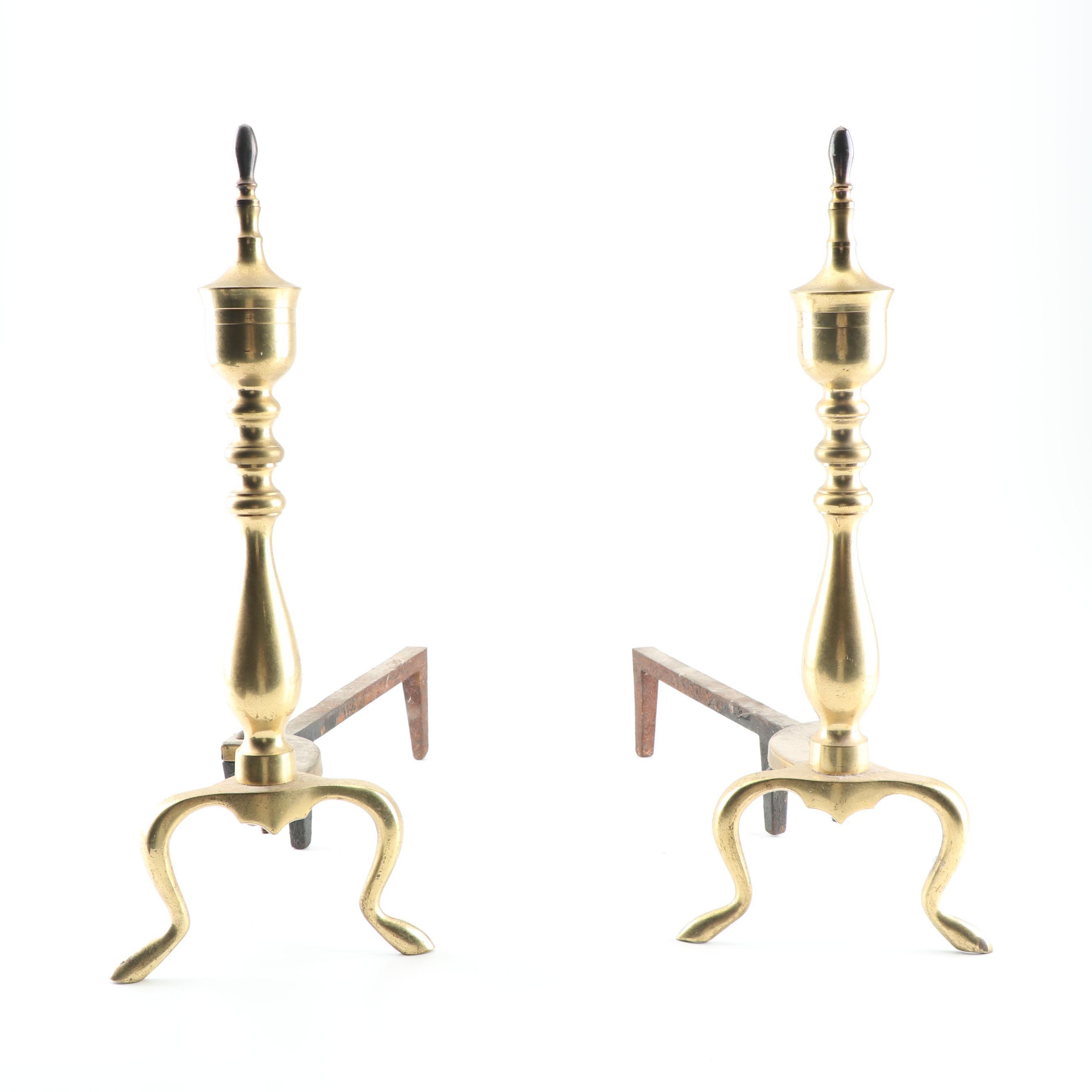 Brass Plated Andirons