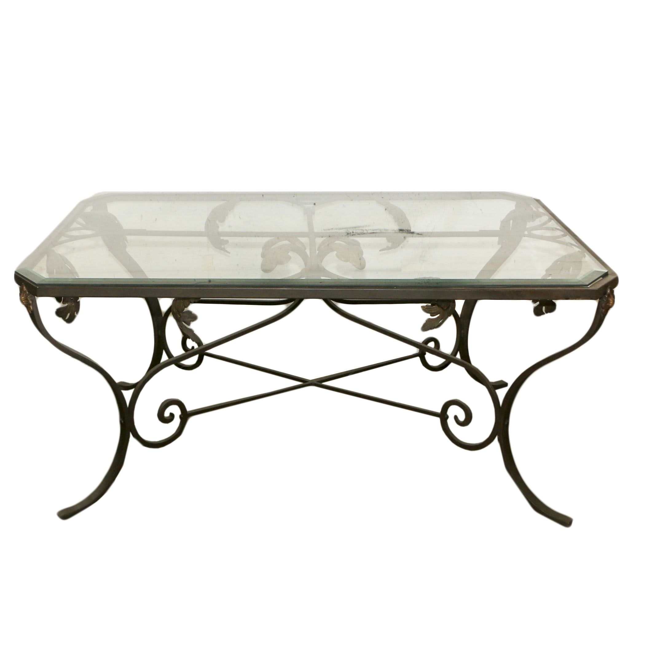 Regency Style Metal and Glass Coffee Table, Late 20th Century