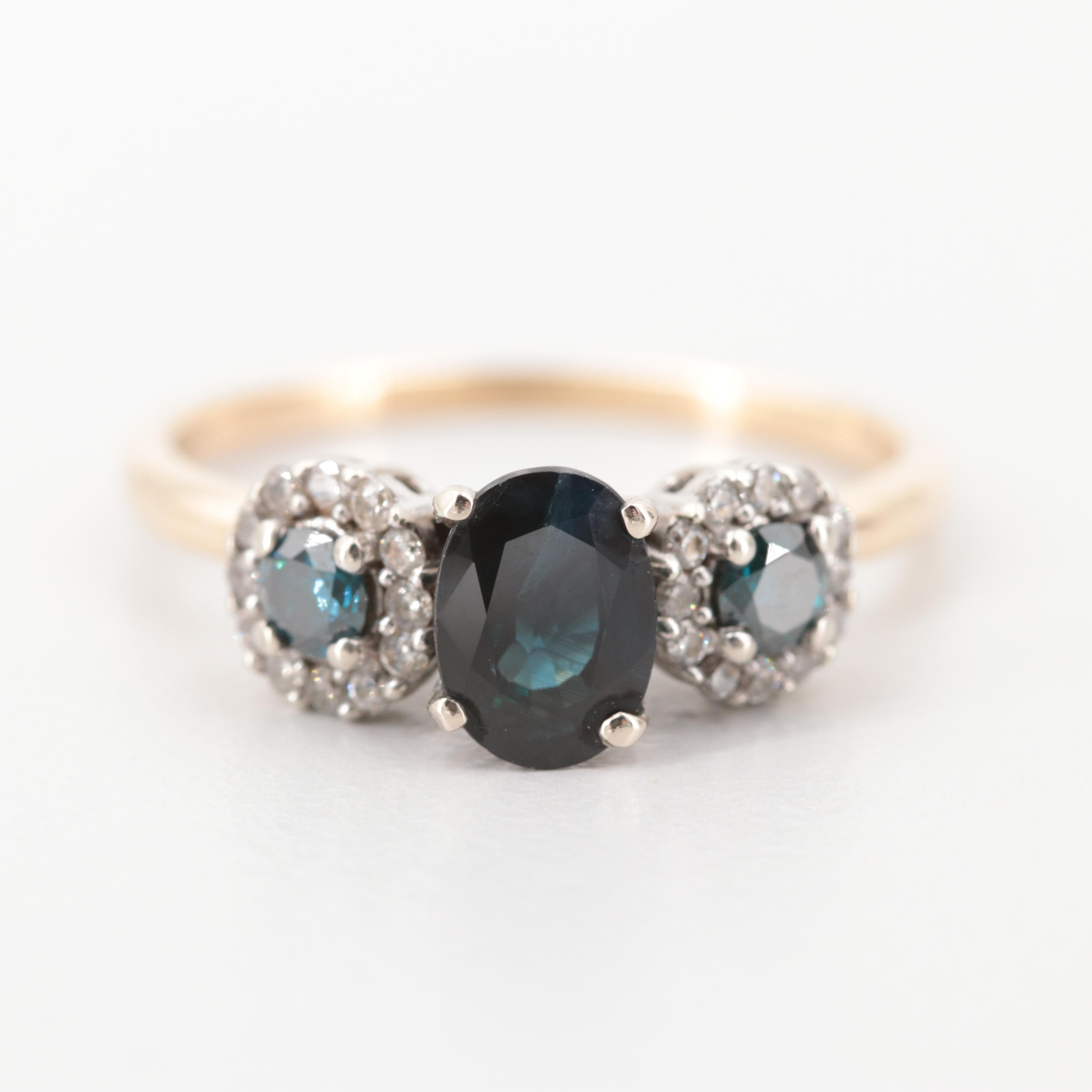 14K Yellow Gold Sapphire and Diamond Ring with Mixed Gold Settings