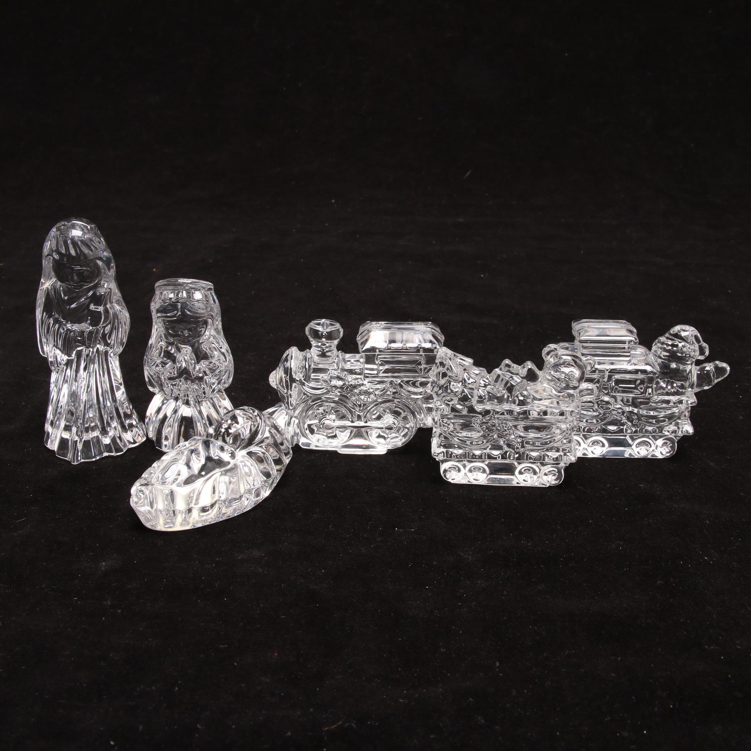 Marquis Waterford Crystal Train and Nativity Collection Figurines