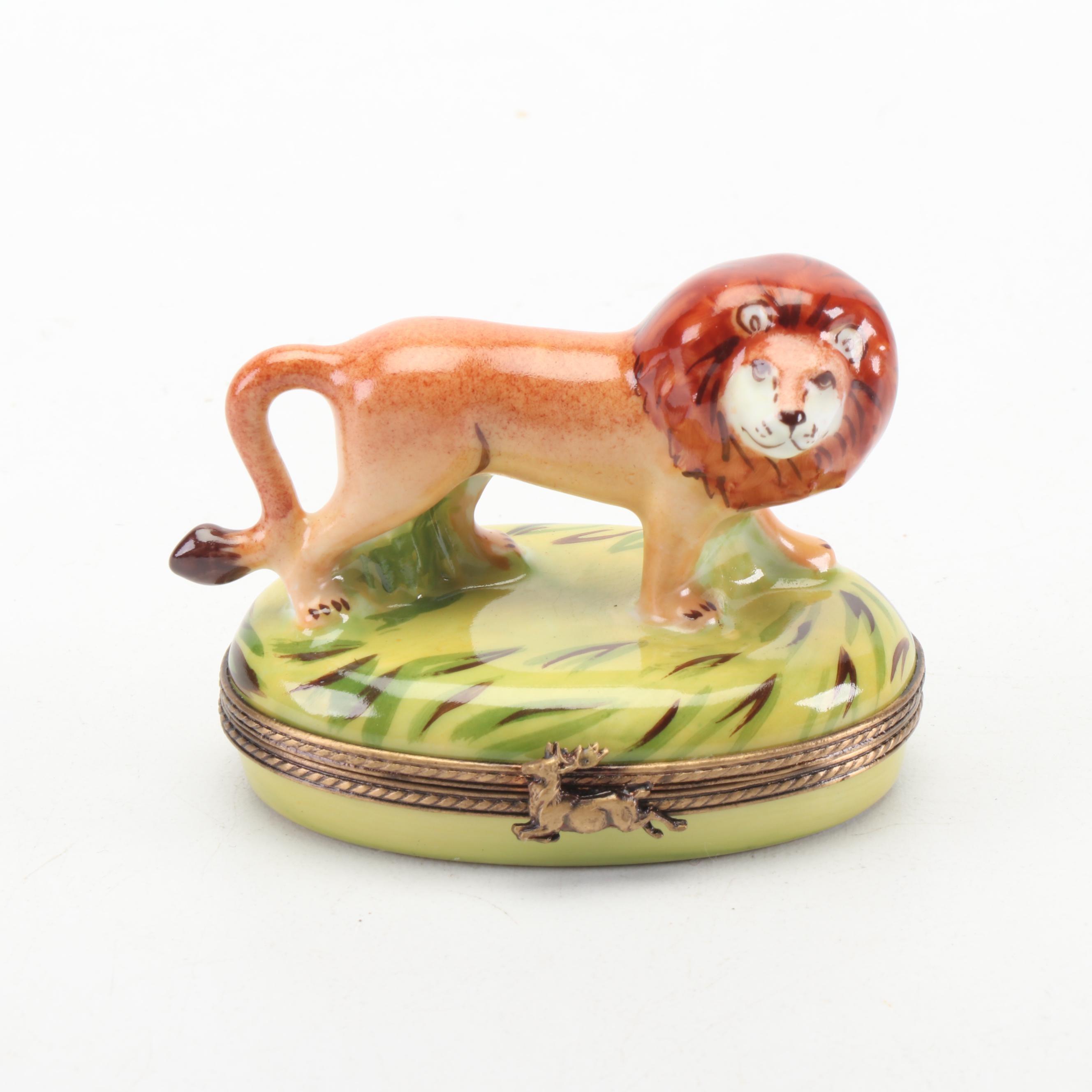 Limoges Hand-Painted Lion Shaped Porcelain Trinket Box