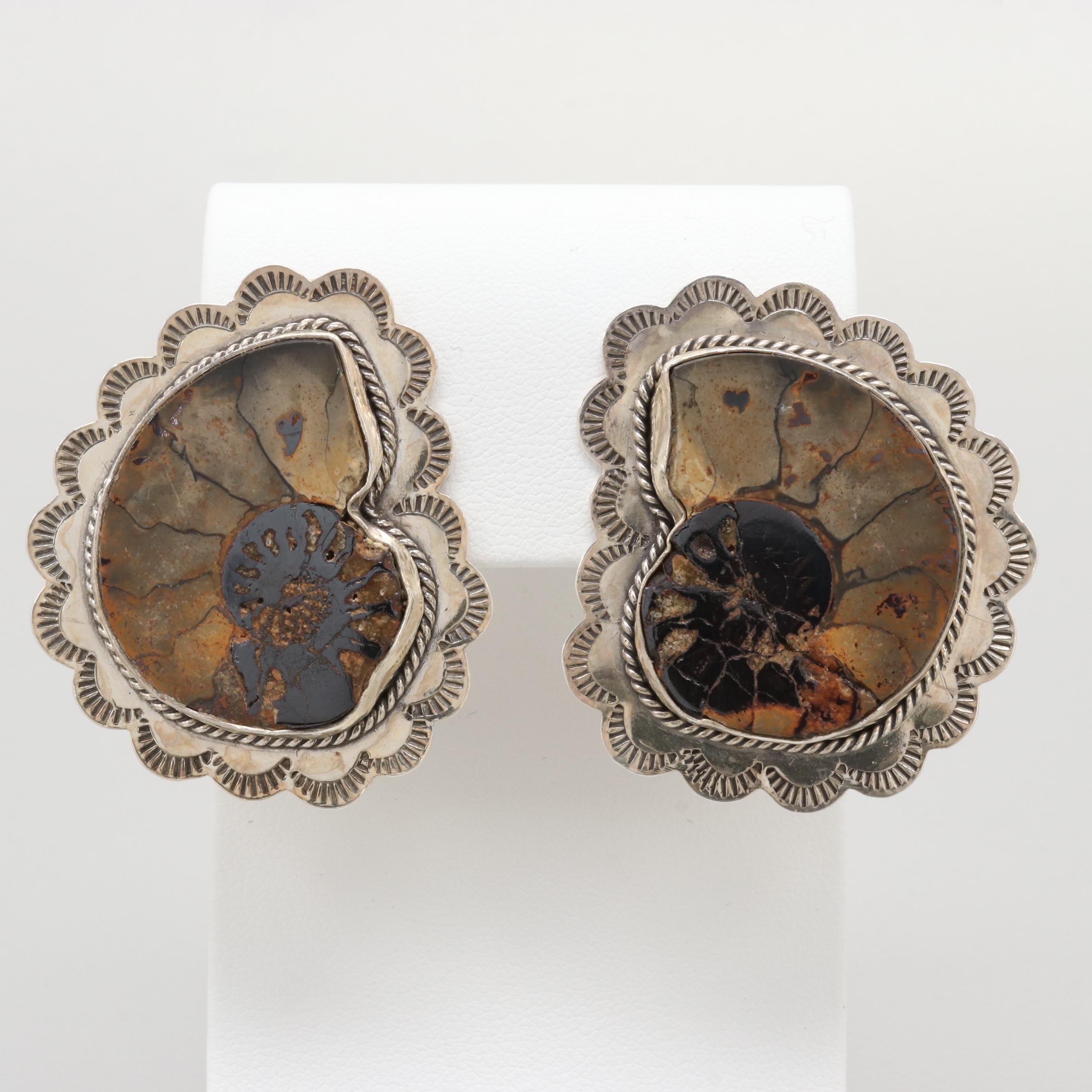 Southwestern Style Jean Slifka Sterling Silver Ammonite Fossil Earrings