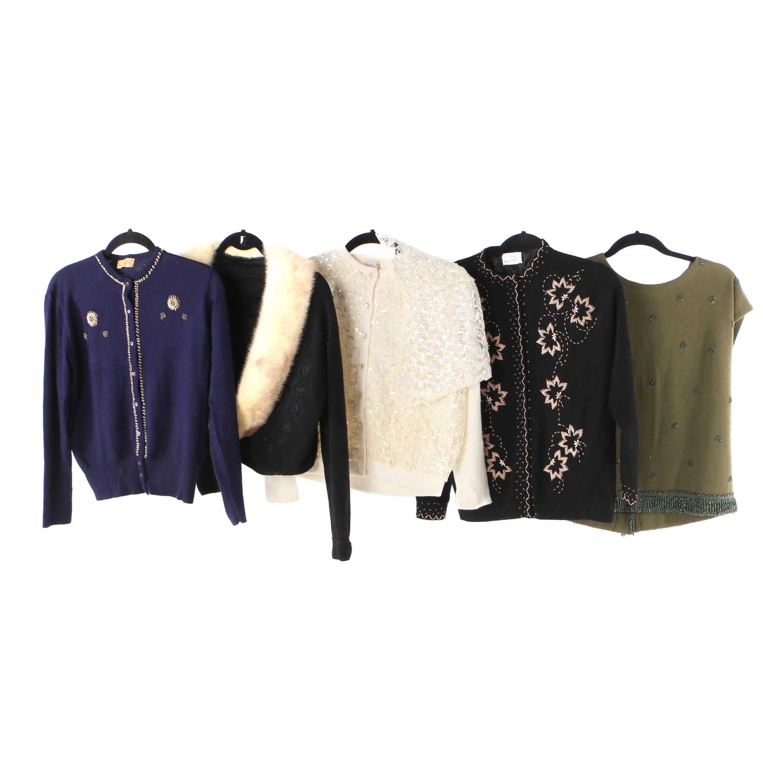 1950s - 1960s Vintage Embellished Sweaters Including Mink Fur Trimmed