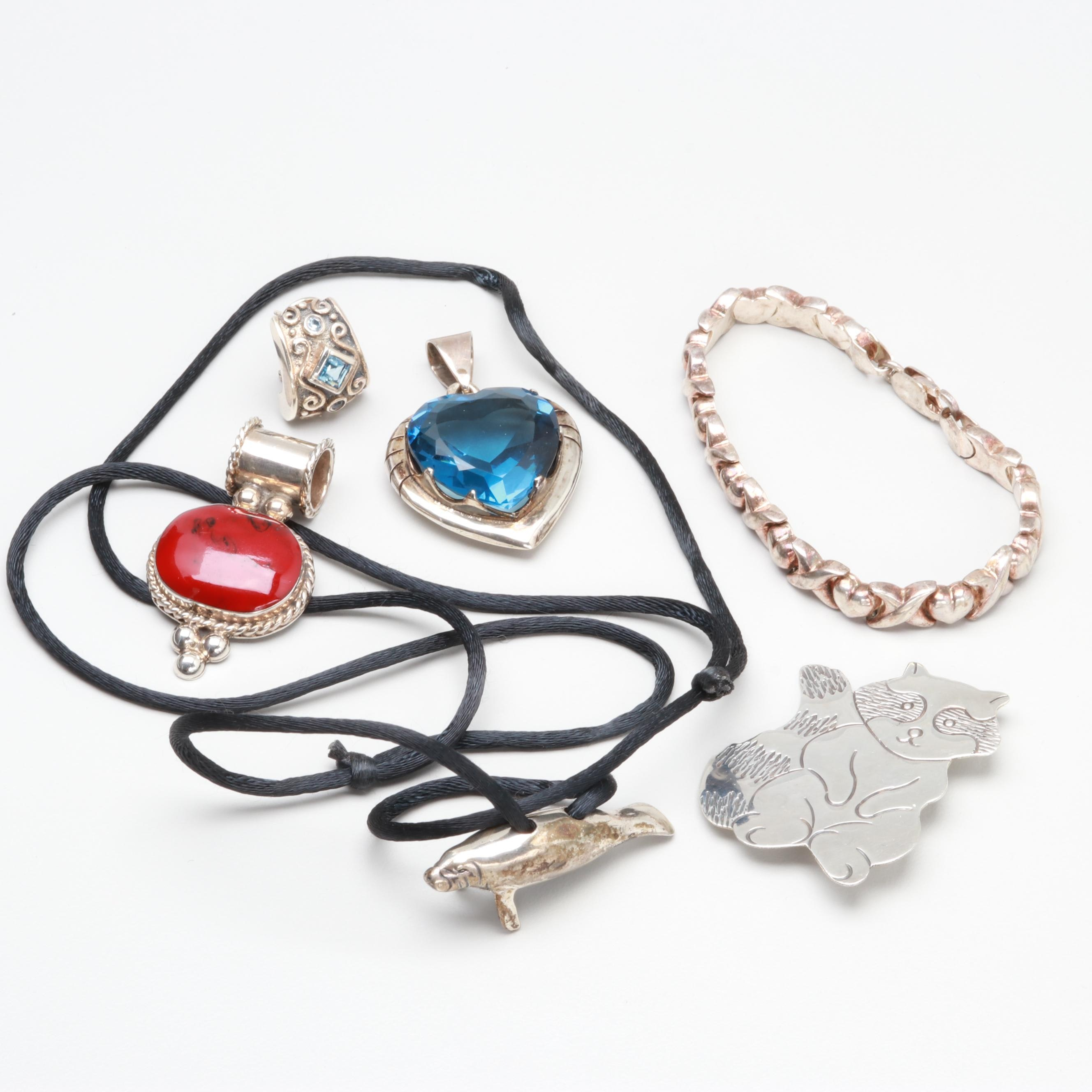 Sterling Silver Jewelry Including Glass, Resin and Mexican Pieces