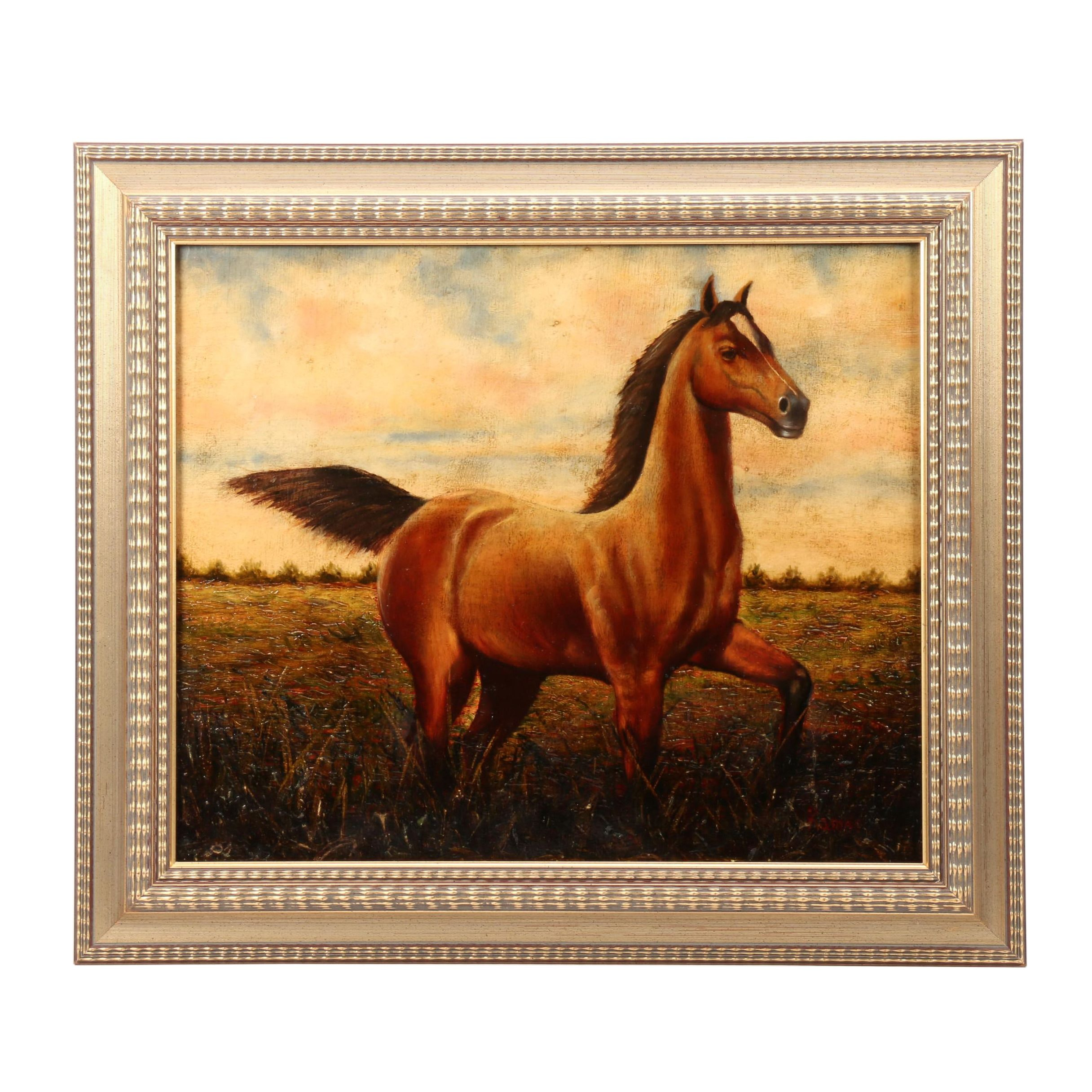 20th-Century Equine Oil Painting on Canvas