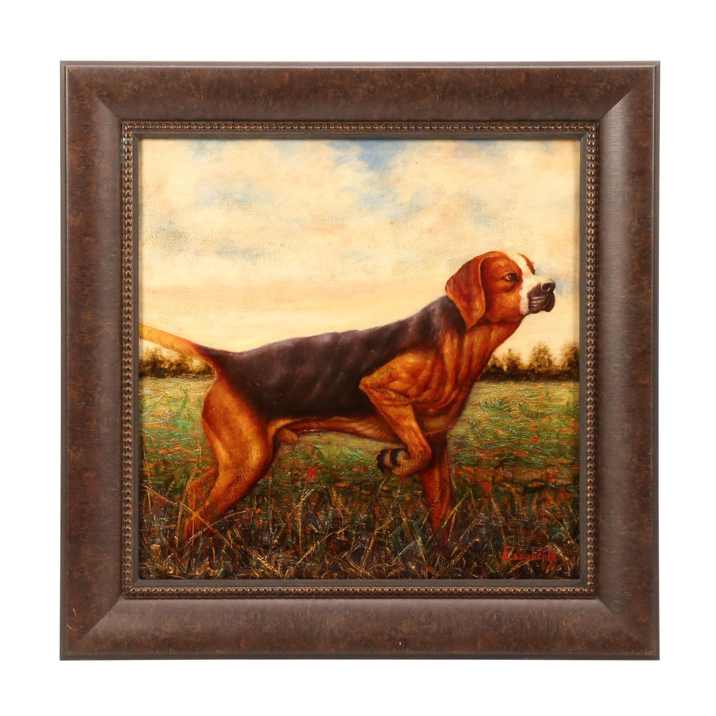 Escalante Oil Painting of Hunting Dog