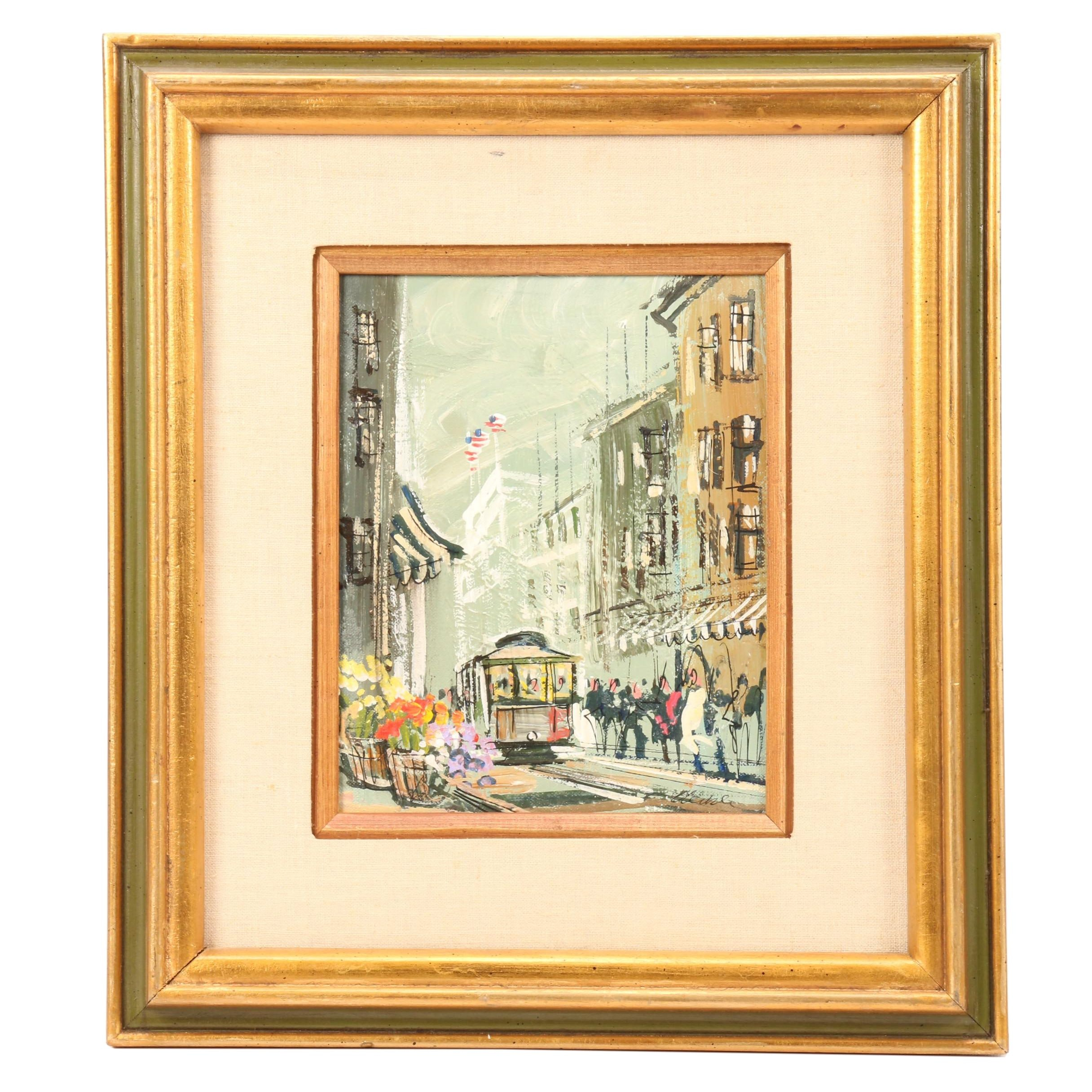 John Checkley Oil Painting of Street Scene with Trolley