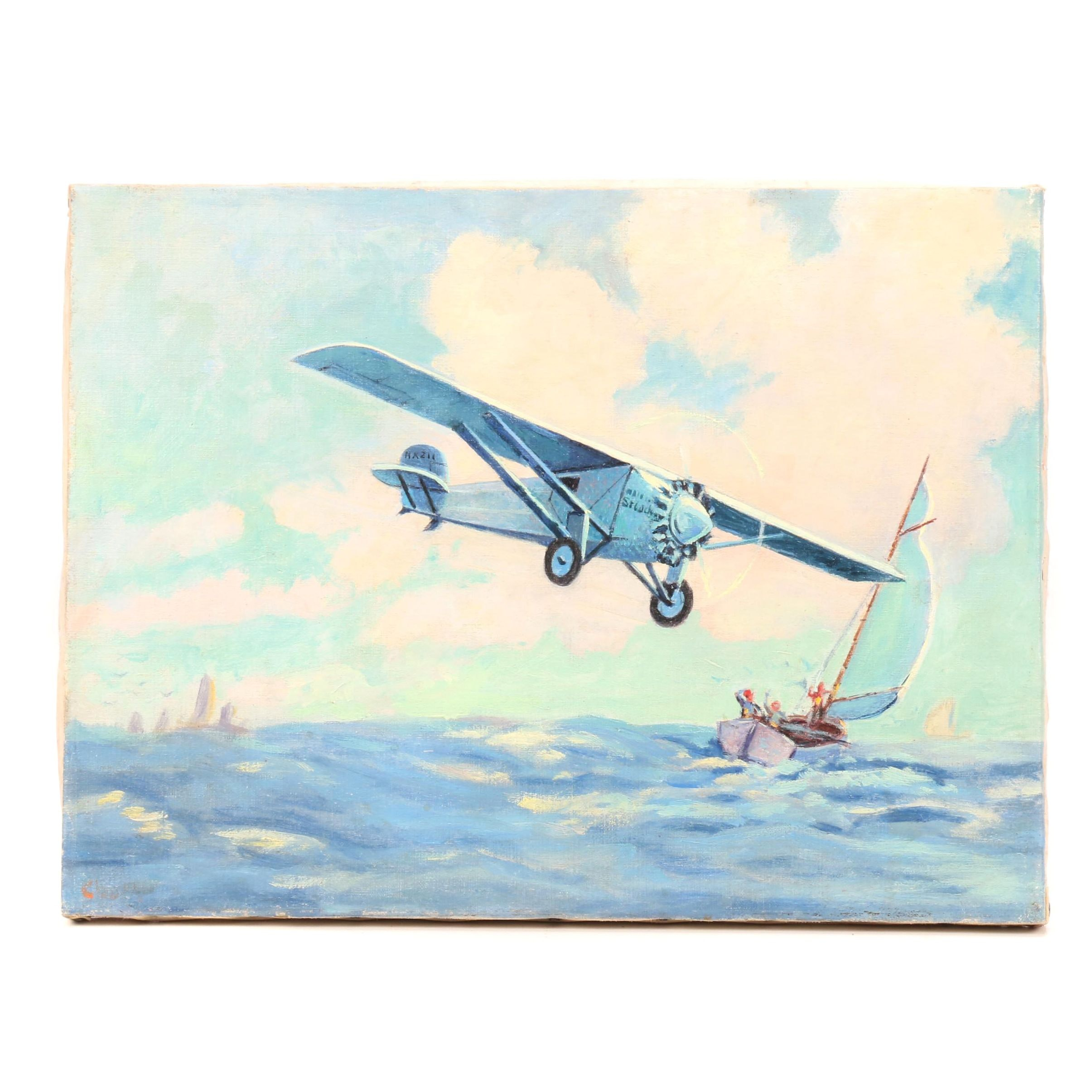 Mid-Century Nautical Scene with Airplane Oil Painting