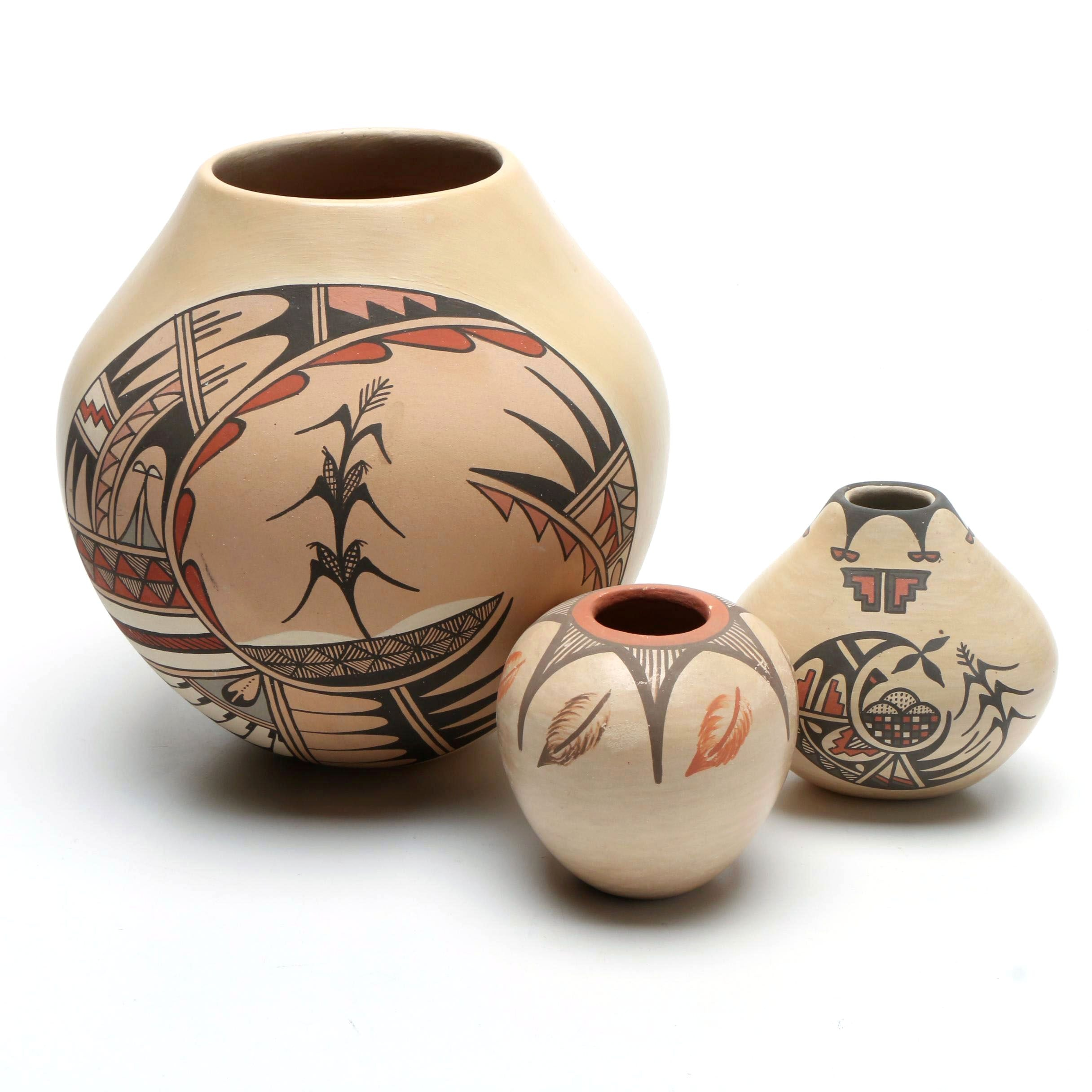 Jemez Pueblo Polychrome Earthenware Vases
